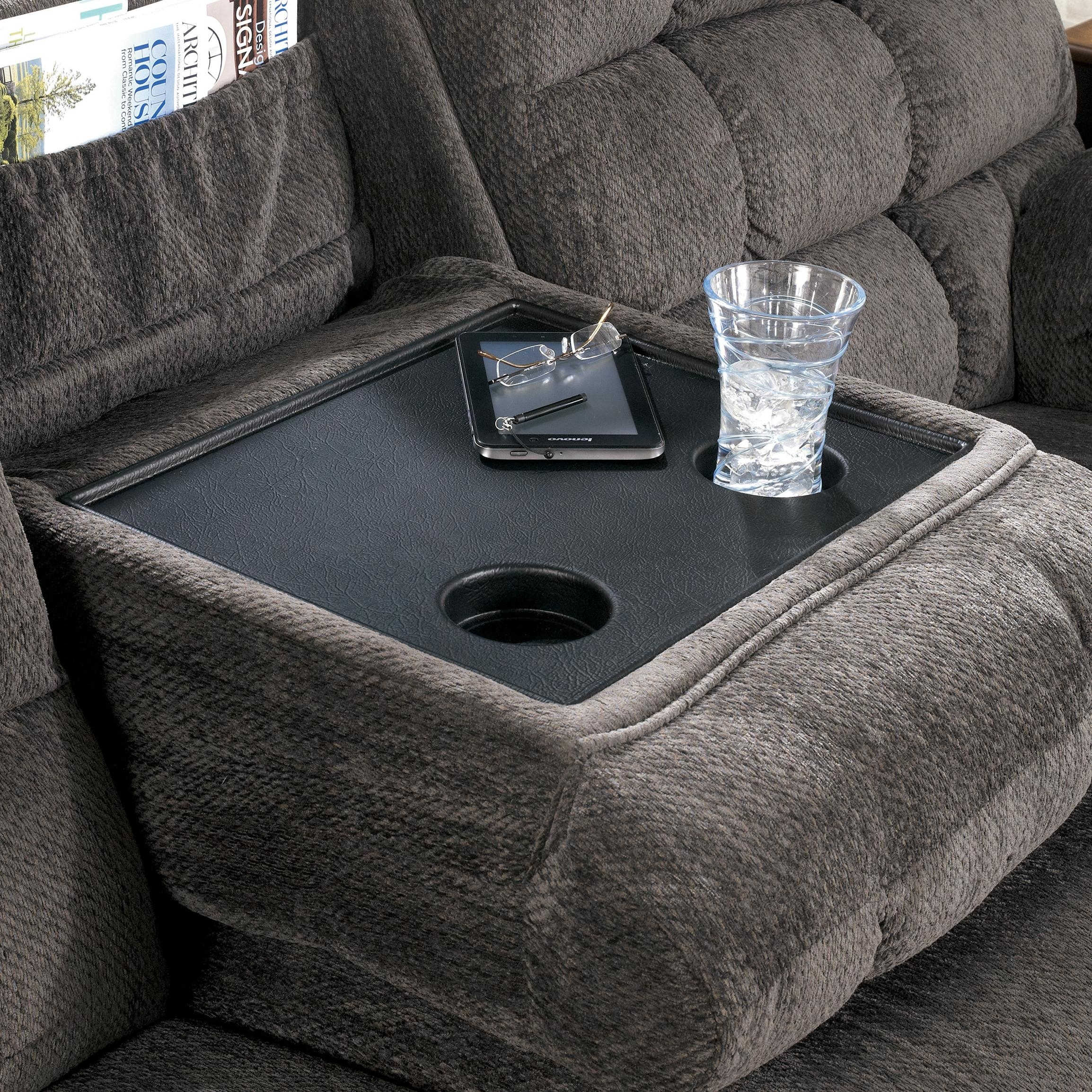 Reclining Sofa With Drop Down Table And Cup Holderssignature With Sofas With Drink Tables (View 7 of 10)