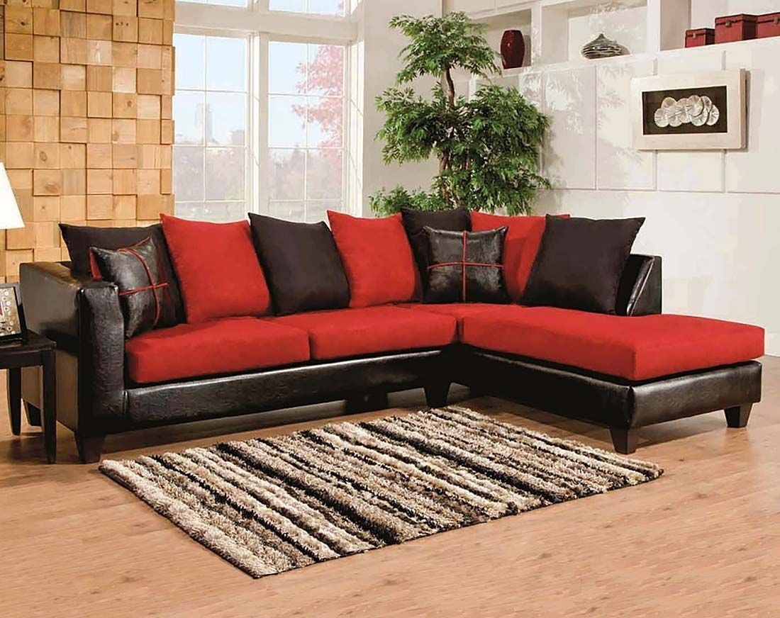 Red, Black Couch, Microfiber | Sierra Cardinal 2 Piece Sectional Inside Red Black Sectional Sofas (View 2 of 10)