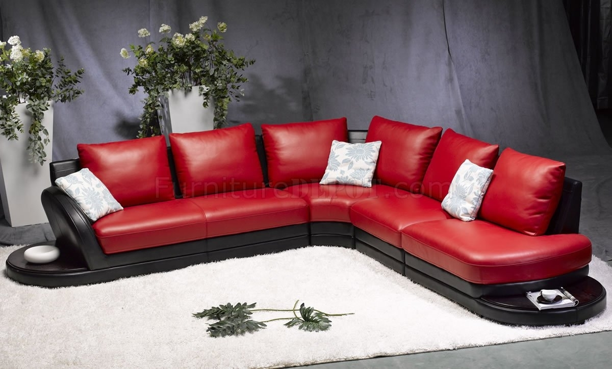Red & Black Leather Modern Two Tone Sectional Sofa In Red Black Sectional Sofas (View 9 of 10)