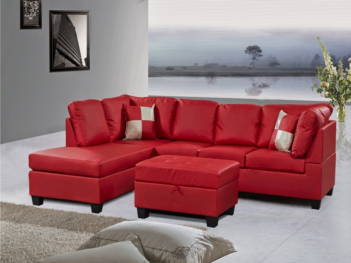 Red Couch: Red Leather Sectional Couch Regarding Red Sectional Sofas With Ottoman (View 4 of 15)