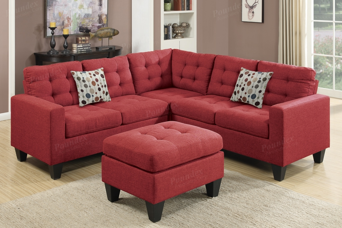 Red Fabric Sectional Sofa And Ottoman – Steal A Sofa Furniture Throughout Sectional Sofas With Ottoman (View 11 of 15)