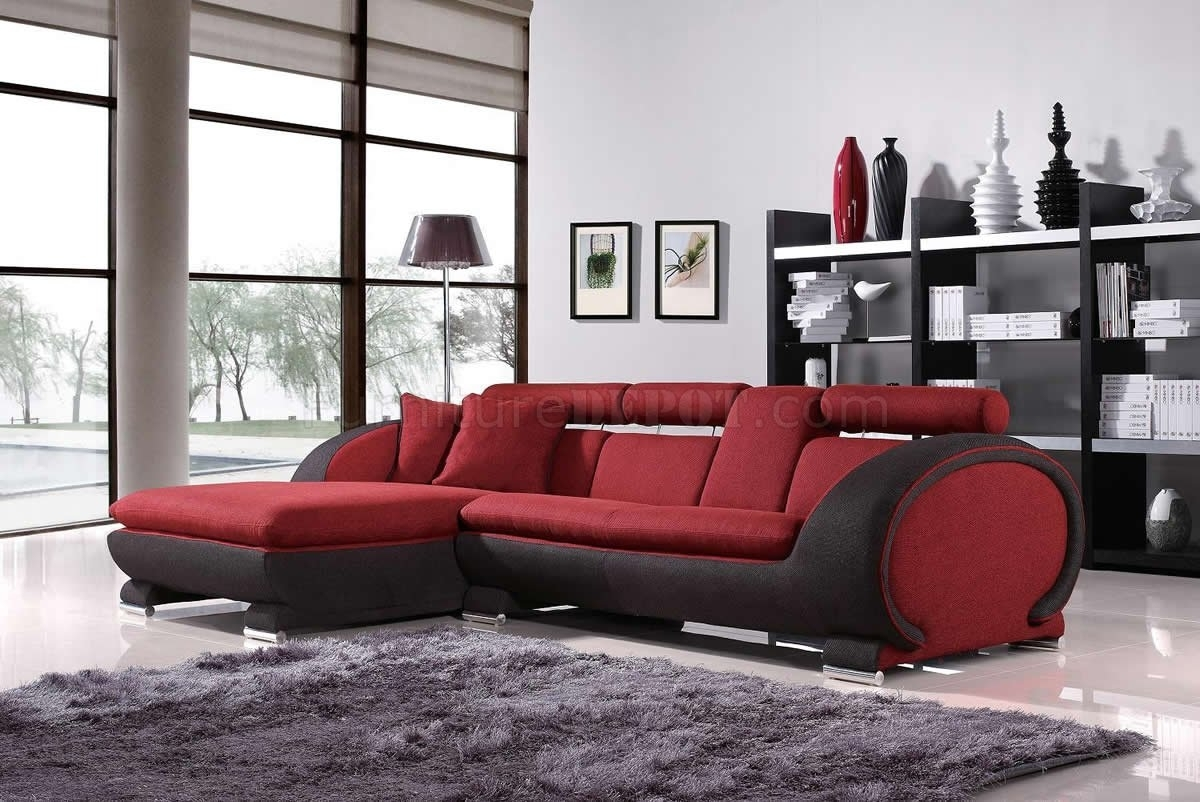Red Fabric Two Tone Modern Sectional Sofa W/cup Holders Pertaining To Sectional Sofas With Cup Holders (View 5 of 10)