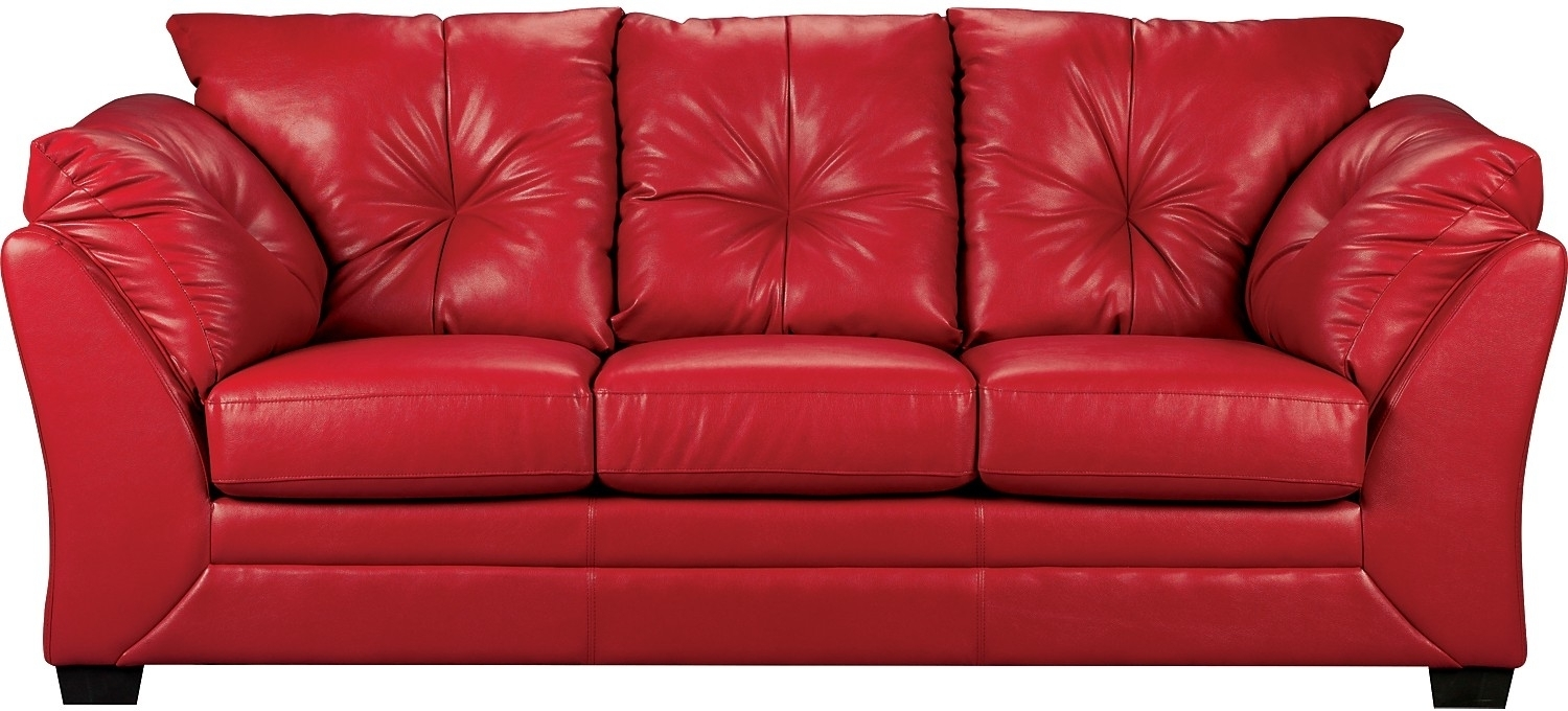 Red Faux Leather Sofa – Home And Textiles Regarding The Brick Leather Sofas (View 6 of 10)