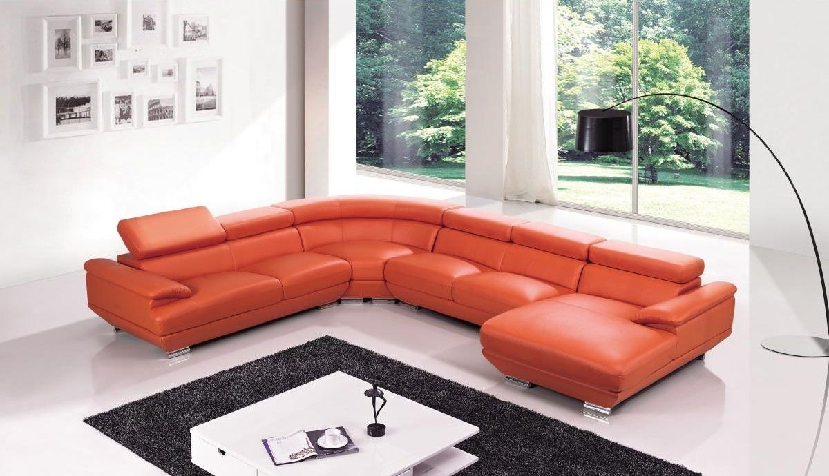 Red Leather Four Pieces Extra Large Modern Sectional Sofa North Within North Carolina Sectional Sofas (Gallery 10 of 10)