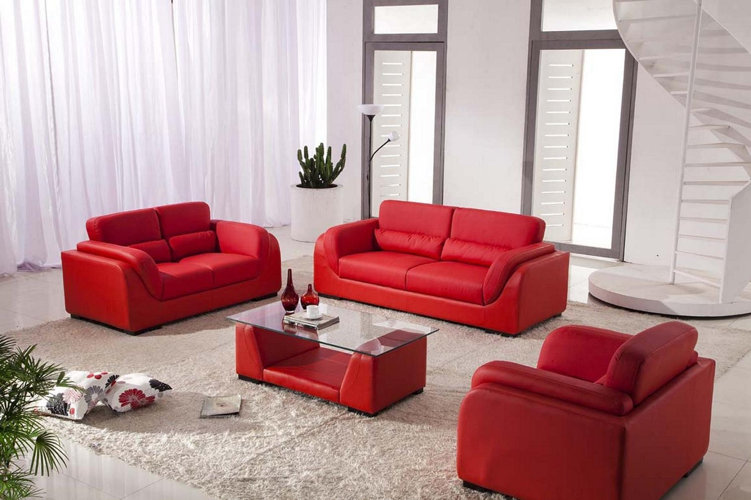 Red Leather Reclining Sleeper Sofa In Light Brown Living Room in Red Leather Couches For Living Room (Image 9 of 15)