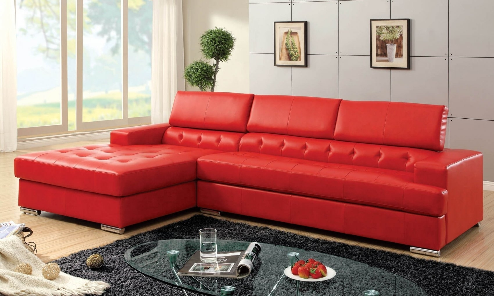 Red Leather Sectional Sofa Contemporary – Best Sectional In Intended For Red Sectional Sofas With Ottoman (View 13 of 15)