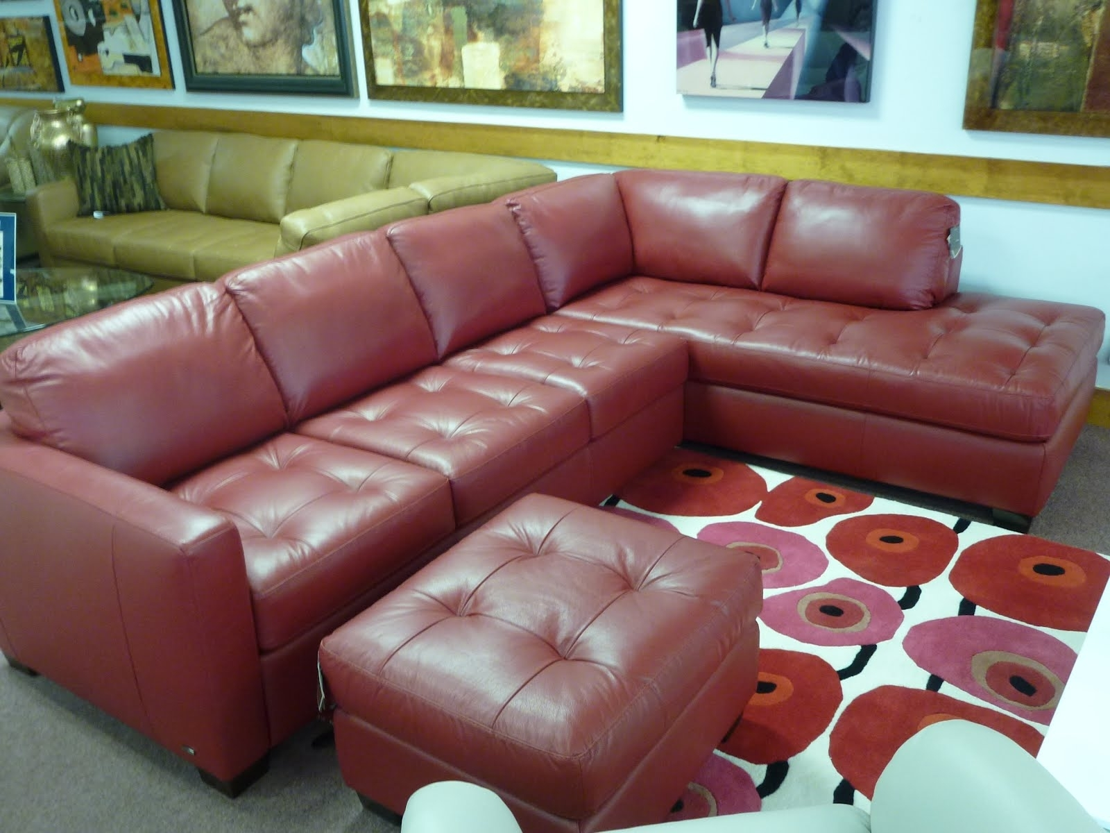 Red Leather Sectional Sofa | Red Leather Sectional Sofa With Chaise intended for Red Leather Sectional Sofas With Ottoman (Image 12 of 15)