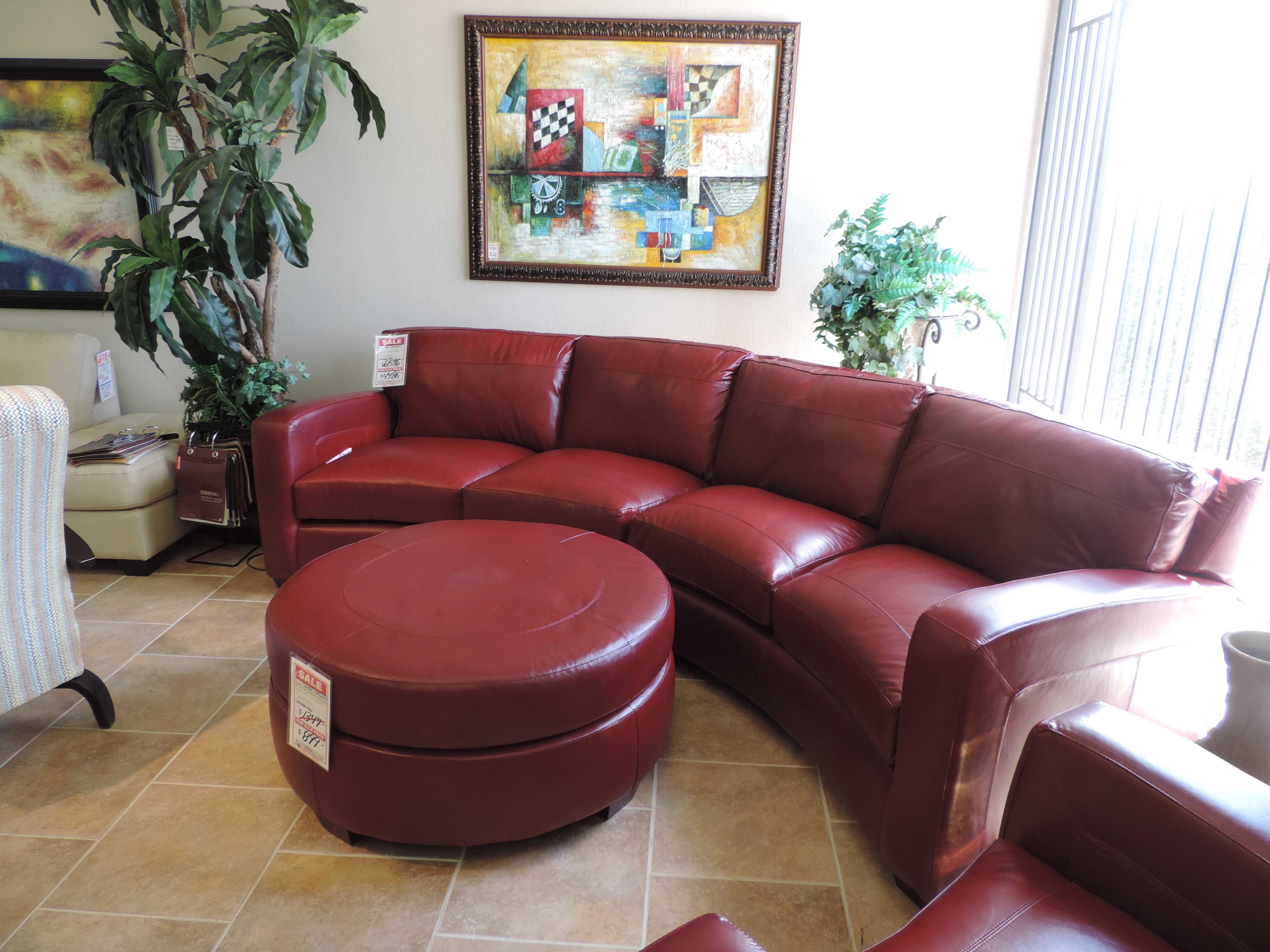 Red Leather Sectional Sofa With Matching Chair And Ottoman. | Home throughout Red Leather Sectionals With Ottoman (Image 12 of 15)