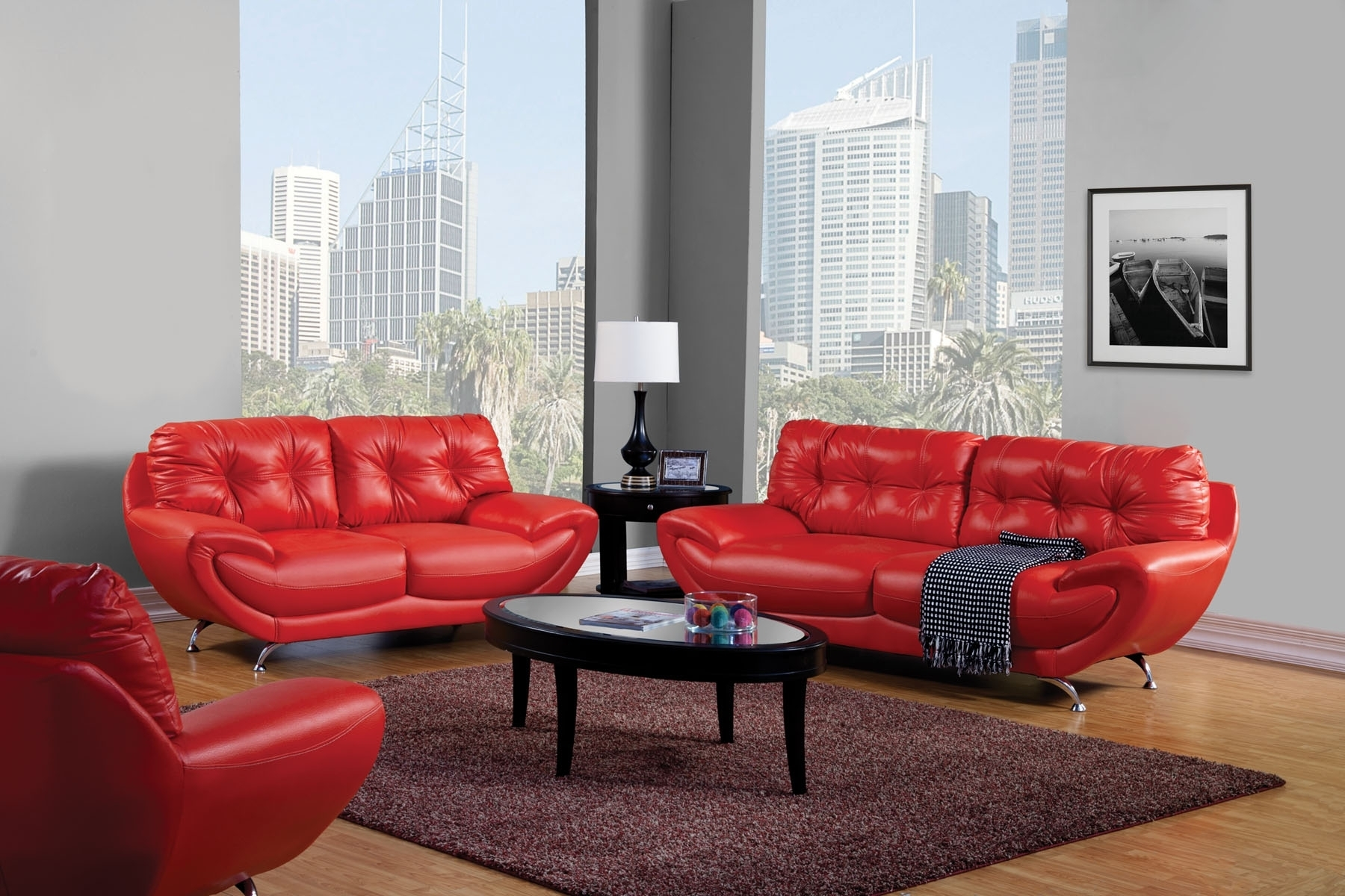Red Leather Sofa Living Room Design • Living Room Design within Red Leather Couches For Living Room (Image 11 of 15)