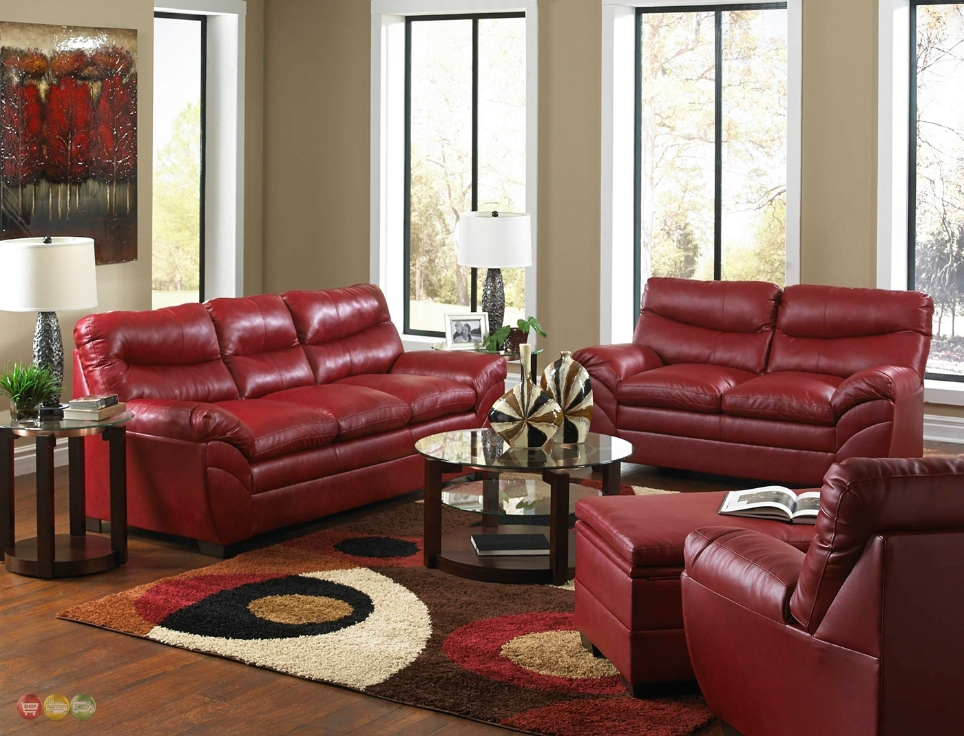 Red Leather Sofa Living Room Design | Living Room Decor within Red Leather Couches For Living Room (Image 10 of 15)