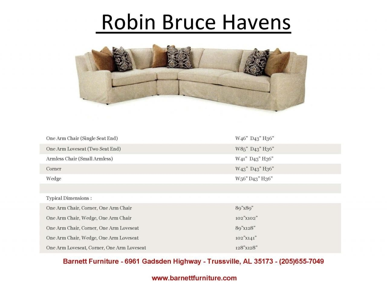 Robin Bruce Havens Slipcover Sectional. You Choose The Fabric And throughout Sectional Sofas at Birmingham Al (Image 11 of 15)