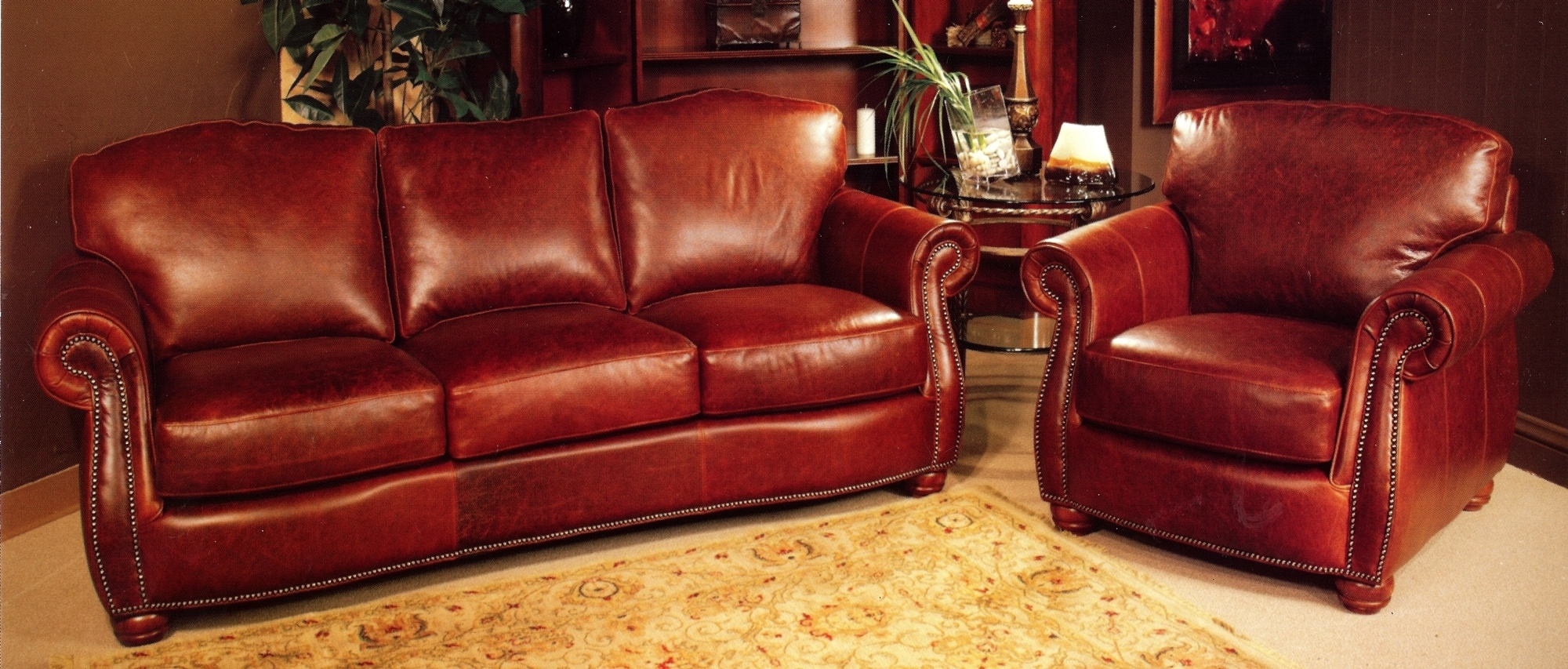 Rustic Red Leather Sofa And Rustic Red Leather Chair With Rustic For Red Leather Sofas (View 11 of 15)