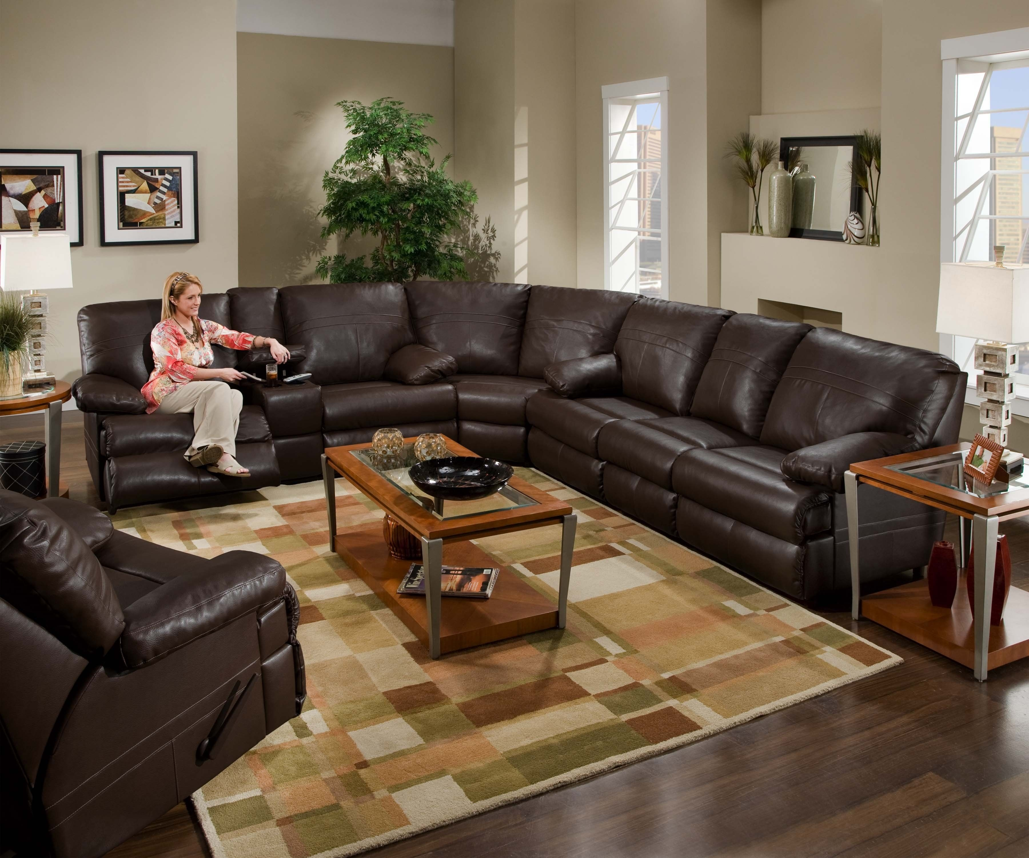 Sectional Leather Couch With Recliners. (View 8 of 10)