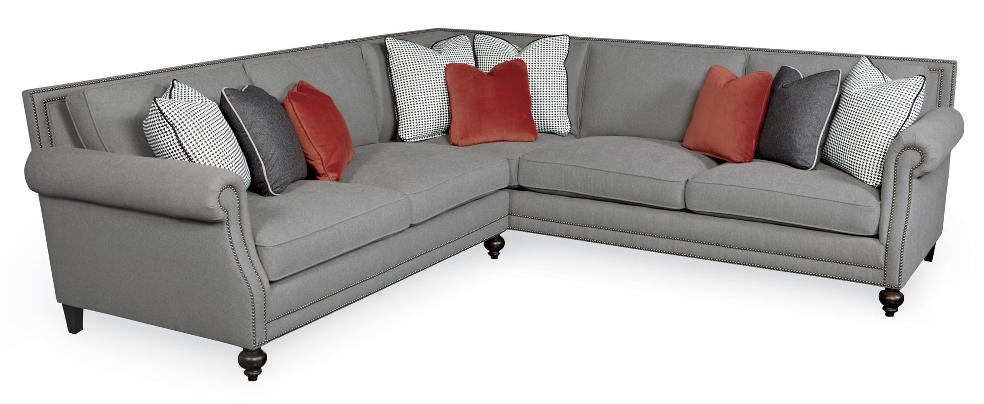 Sectional Sofa Design: Nailhead Sectional Sofa Fabric Leather Chaise In Sectional Sofas With Nailheads (View 5 of 10)