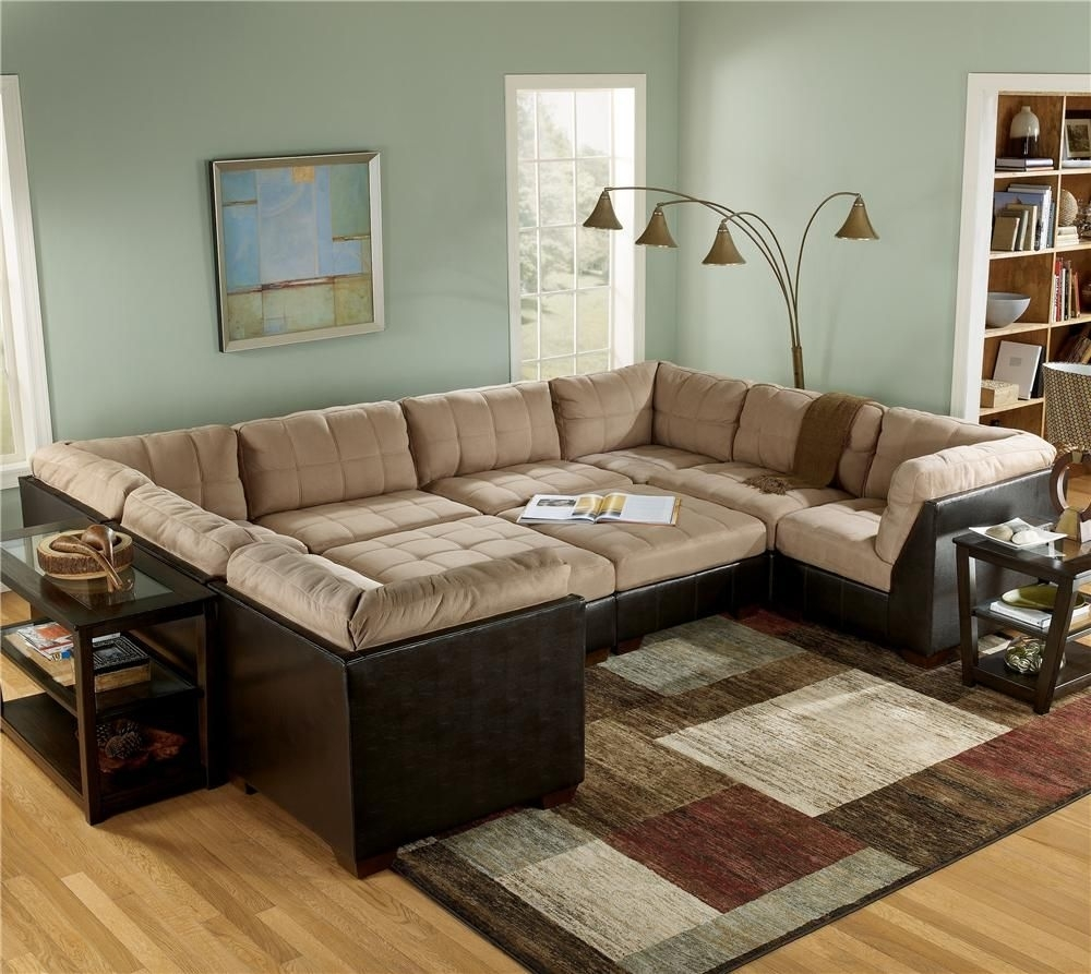 Sectional Sofa Group With Ottomans And Faux Leather Lodi, Stockton pertaining to Sectional Sofas With Ottoman (Image 13 of 15)