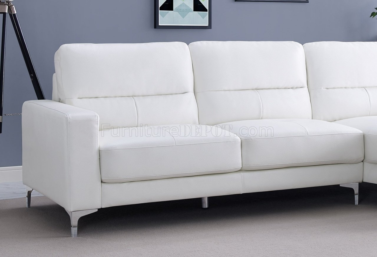 Sectional Sofa In White Bonded Leatherwhiteline with regard to Memphis Sectional Sofas (Image 9 of 10)