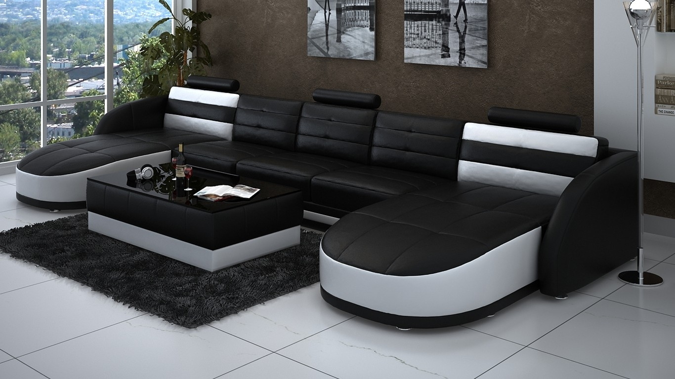 Sectional Sofa : Sectional With Chaise And Ottoman Tan Leather inside Black Leather Sectionals With Ottoman (Image 12 of 15)