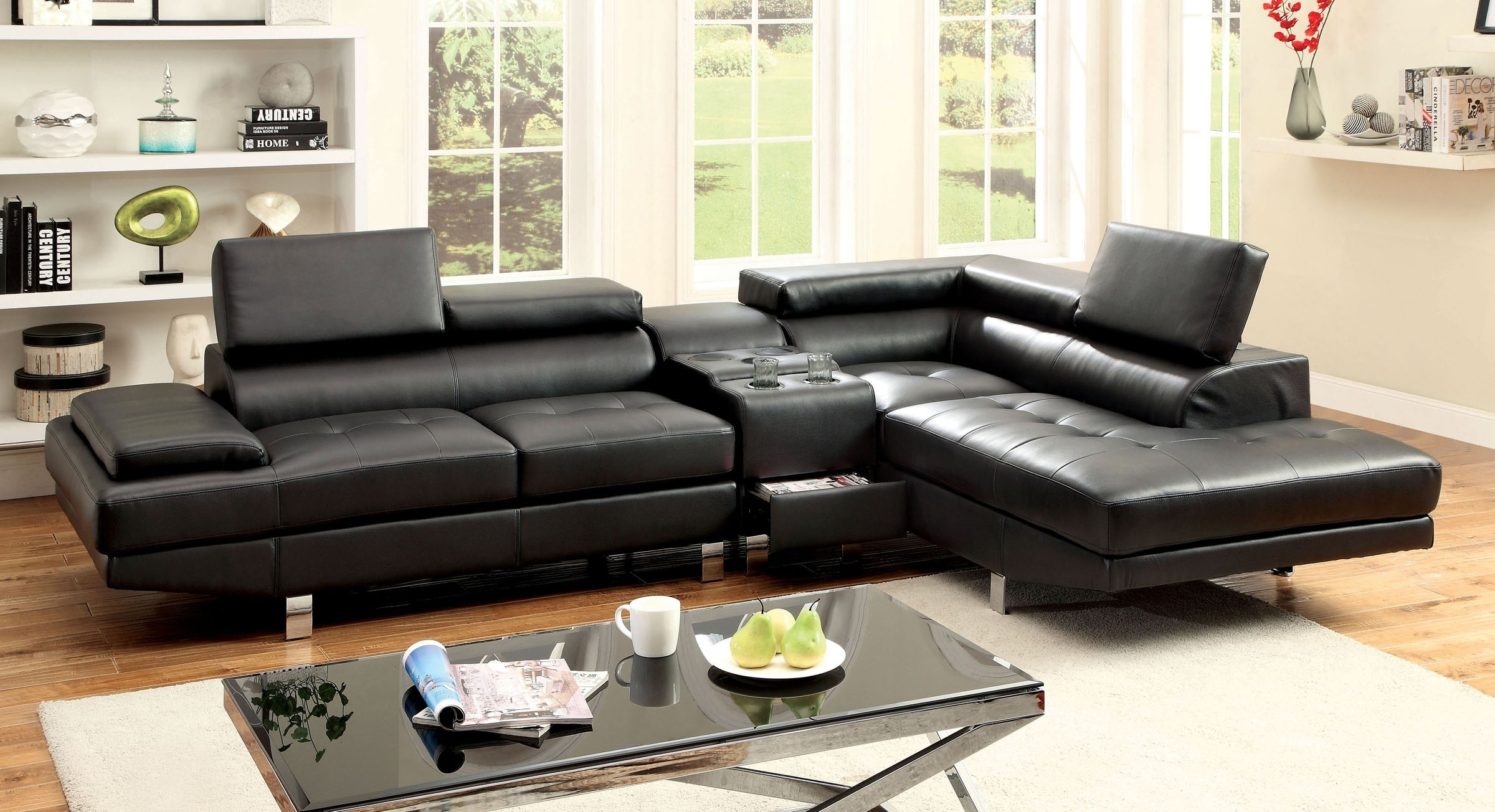 Sectional Sofa W/ Speaker Console (Cm6833Bk ) | Bb's Furniture Store inside Sectional Sofas With Consoles (Image 8 of 10)