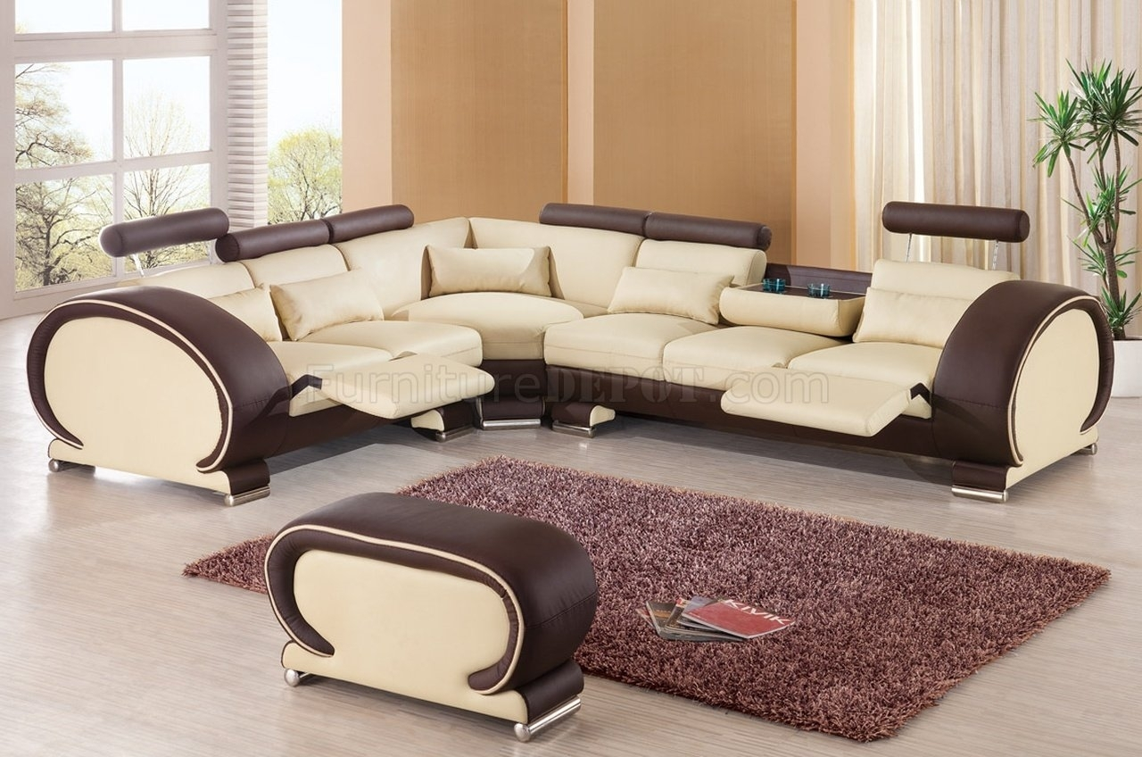 Sectional Sofaesf In Beige & Brown Leather In New Orleans Sectional Sofas (View 2 of 10)