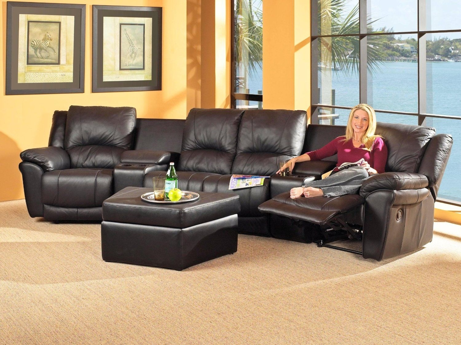Sectional Sofas For Small Spaces | Leather Sectional Black Small Within Sectional Sofas With Recliners For Small Spaces (View 6 of 10)