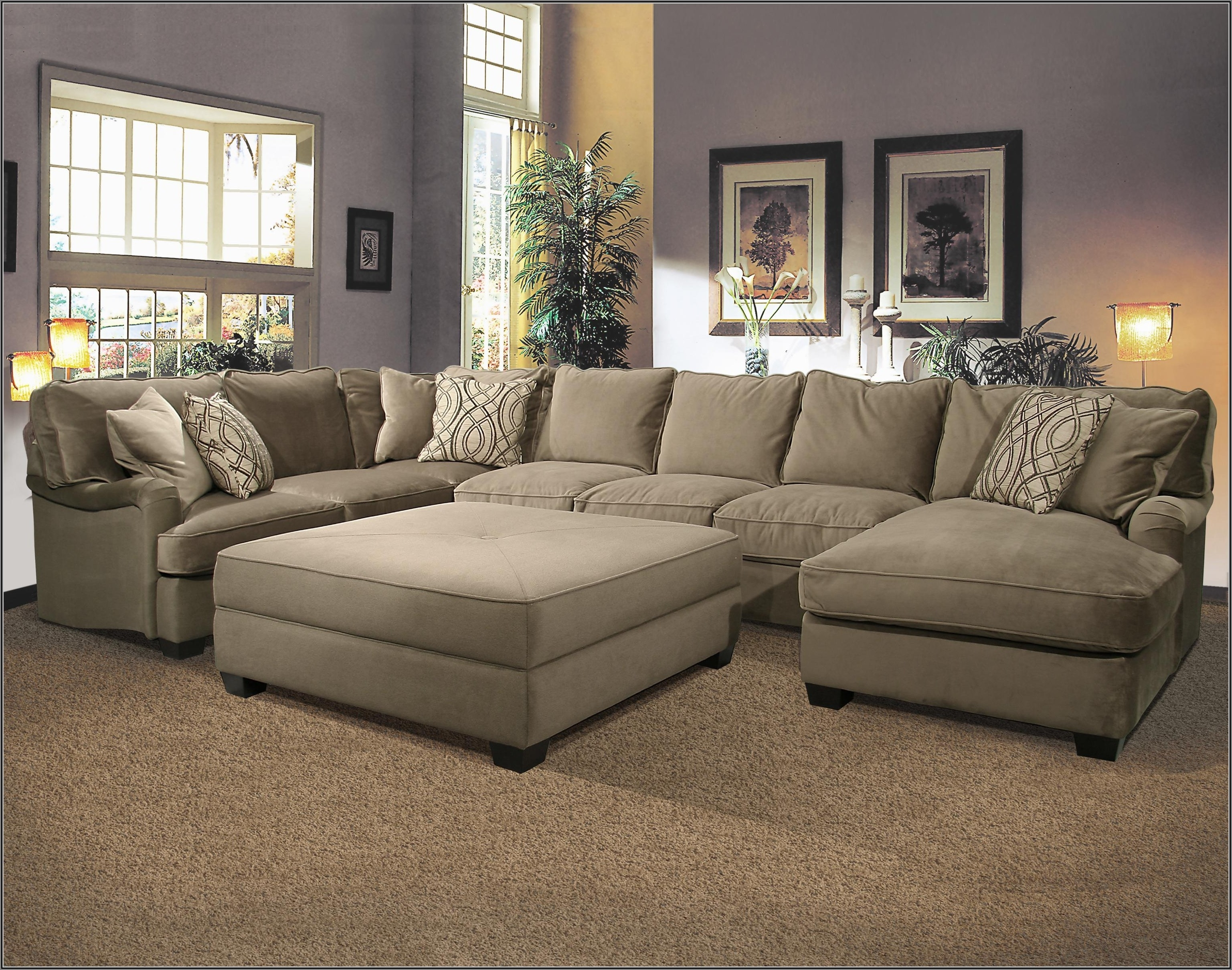 Sectional Sofath Oversized Ottoman Chenille Fabric Matching Regarding Sectionals With Oversized Ottoman (View 3 of 15)