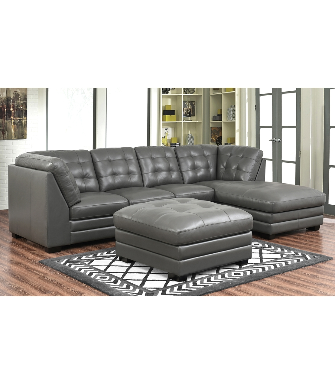 Sectionals : Lawrence Top Grain Leather Sectional With Ottoman inside Leather Sectionals With Ottoman (Image 14 of 15)