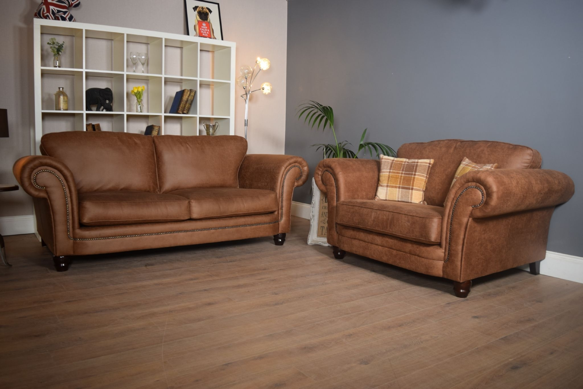 Set Abbey Downton 3 Seater Sofa & Large Cuddle Chair - Tan Fitted pertaining to 3 Seater Sofas and Cuddle Chairs (Image 5 of 10)