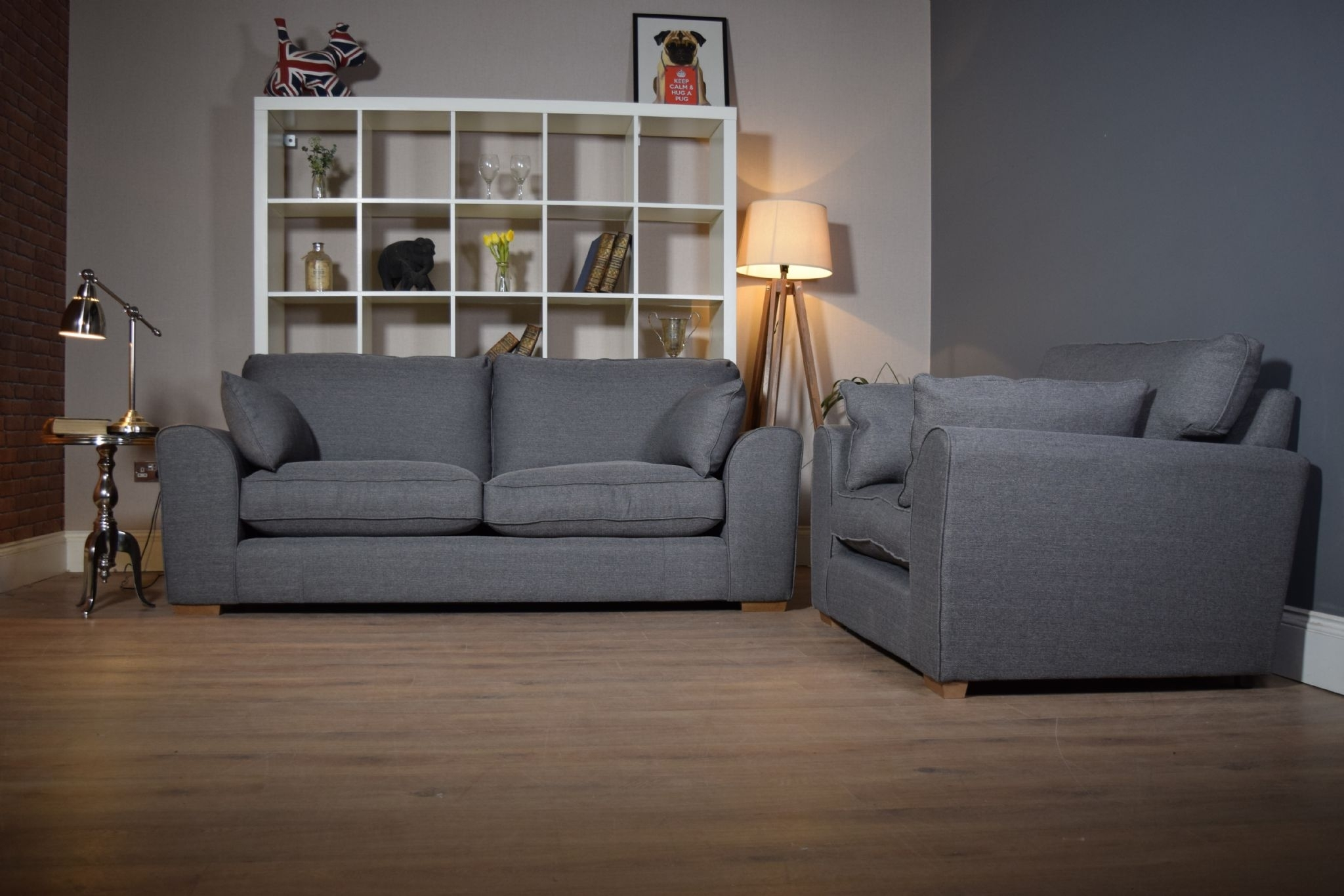Set Ashdown 3 Seater Sofa & Cuddle Chair Set - Grey - Out Of Stock throughout 3 Seater Sofas and Cuddle Chairs (Image 6 of 10)