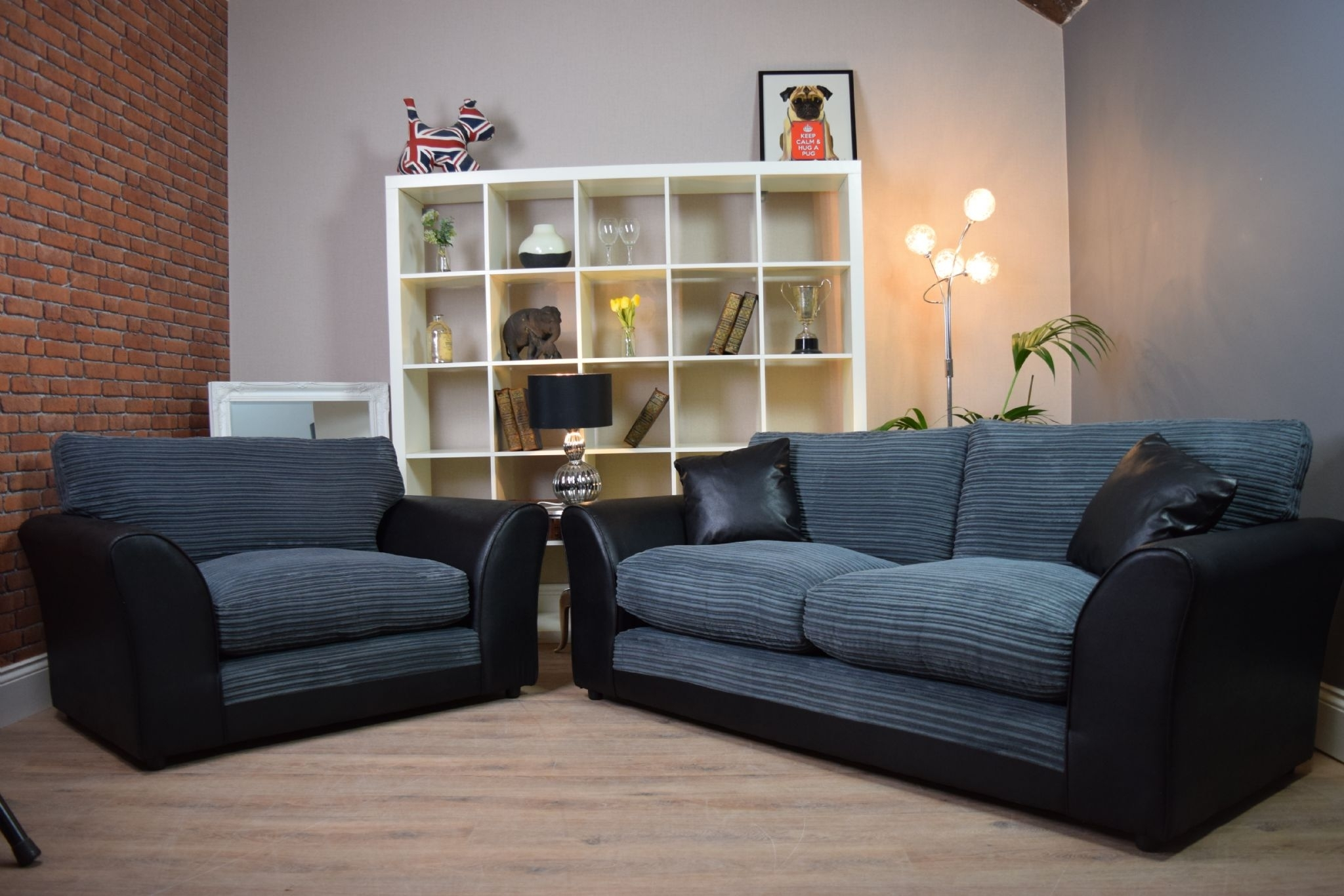 Set Harley Bailey 3 Seater Sofa Cuddle Chair Suite Set - Black Bison intended for 3 Seater Sofas And Cuddle Chairs (Image 7 of 10)