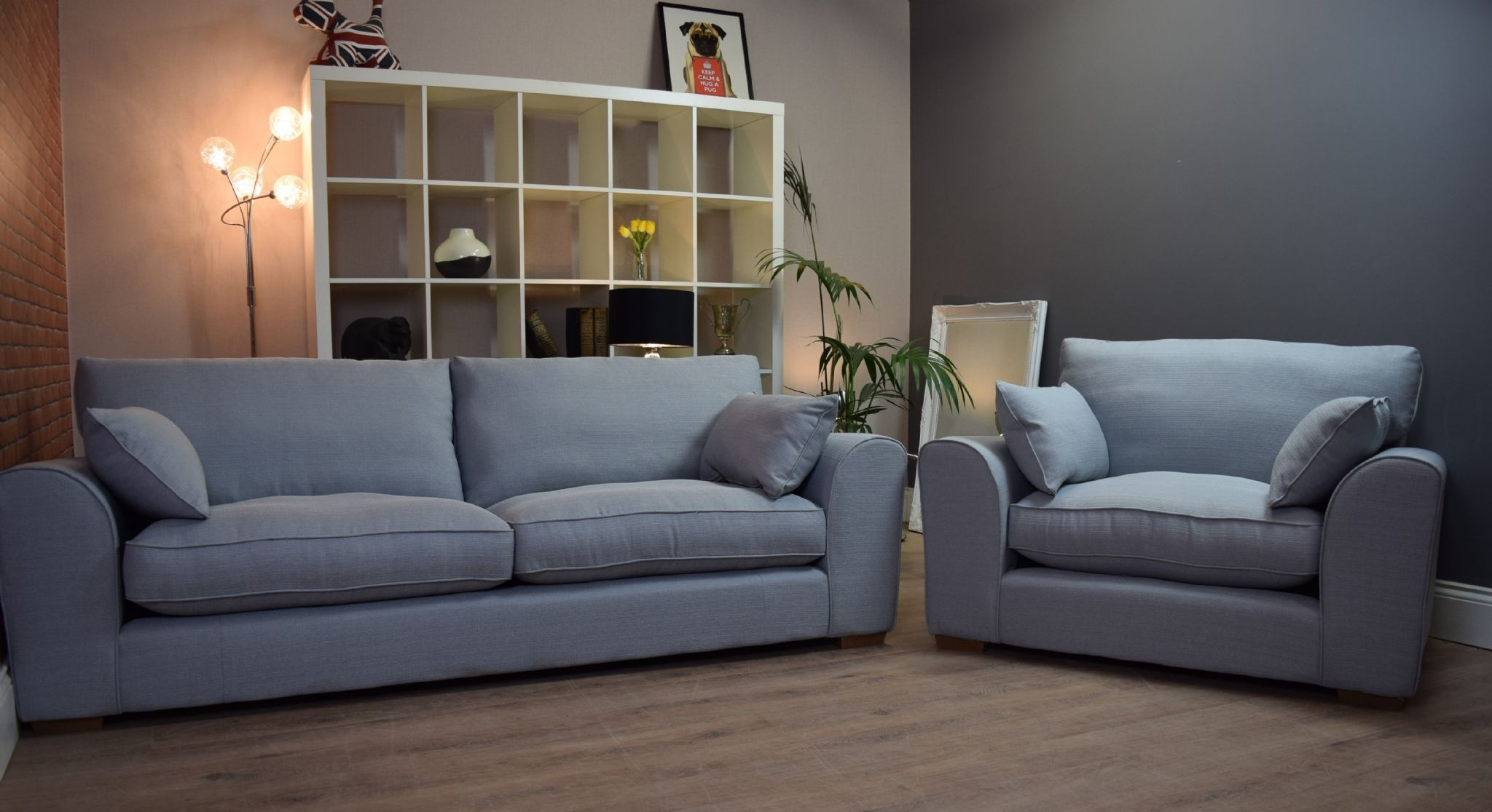 Set New Ashdown 3 Seater Sofa & Cuddle Chair Set - Duck Egg Blue with 3 Seater Sofas and Cuddle Chairs (Image 8 of 10)