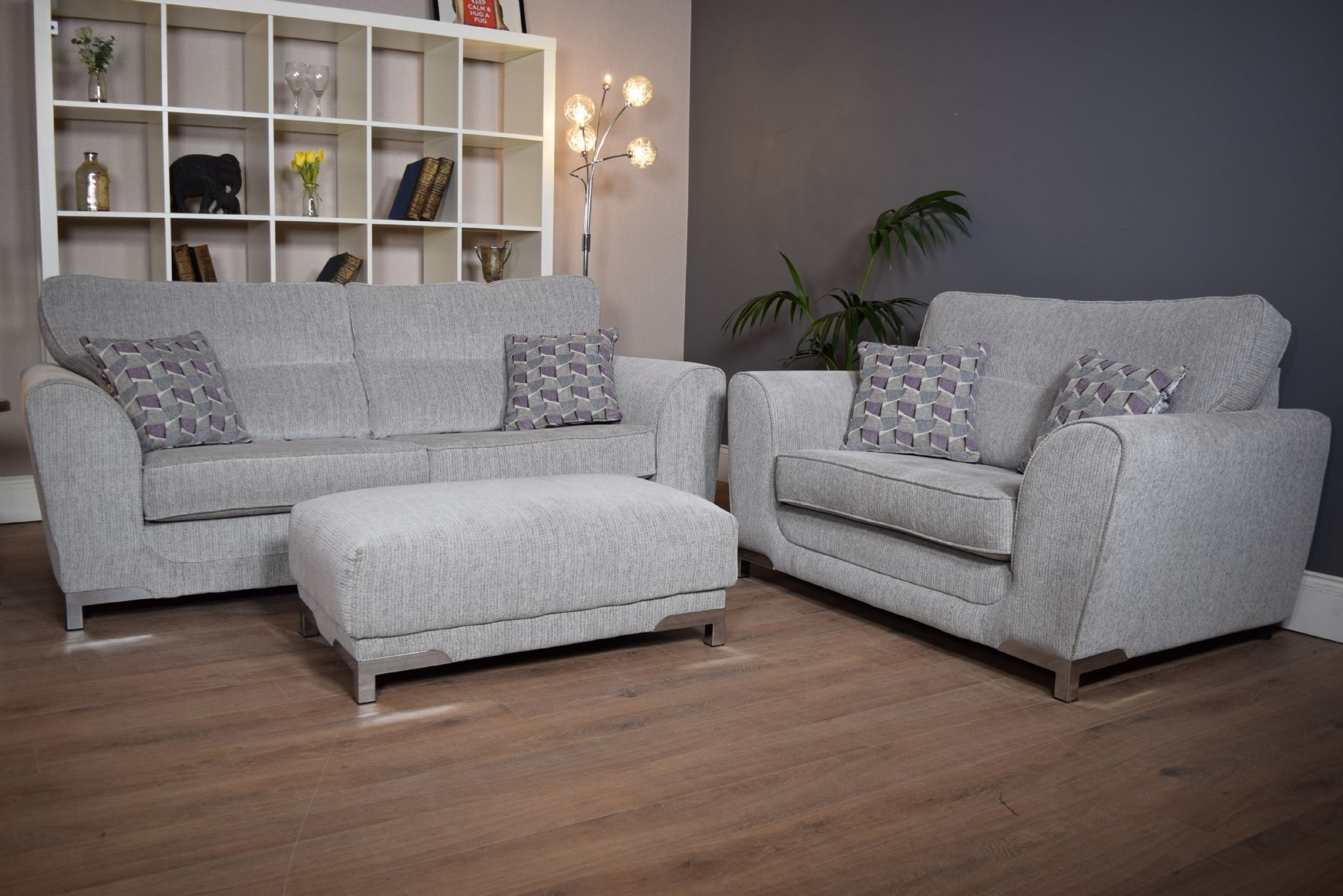Set Nikki 3 Seater Sofa Cuddle Chair & Footstool Suite Set - Light regarding 3 Seater Sofas And Cuddle Chairs (Image 10 of 10)
