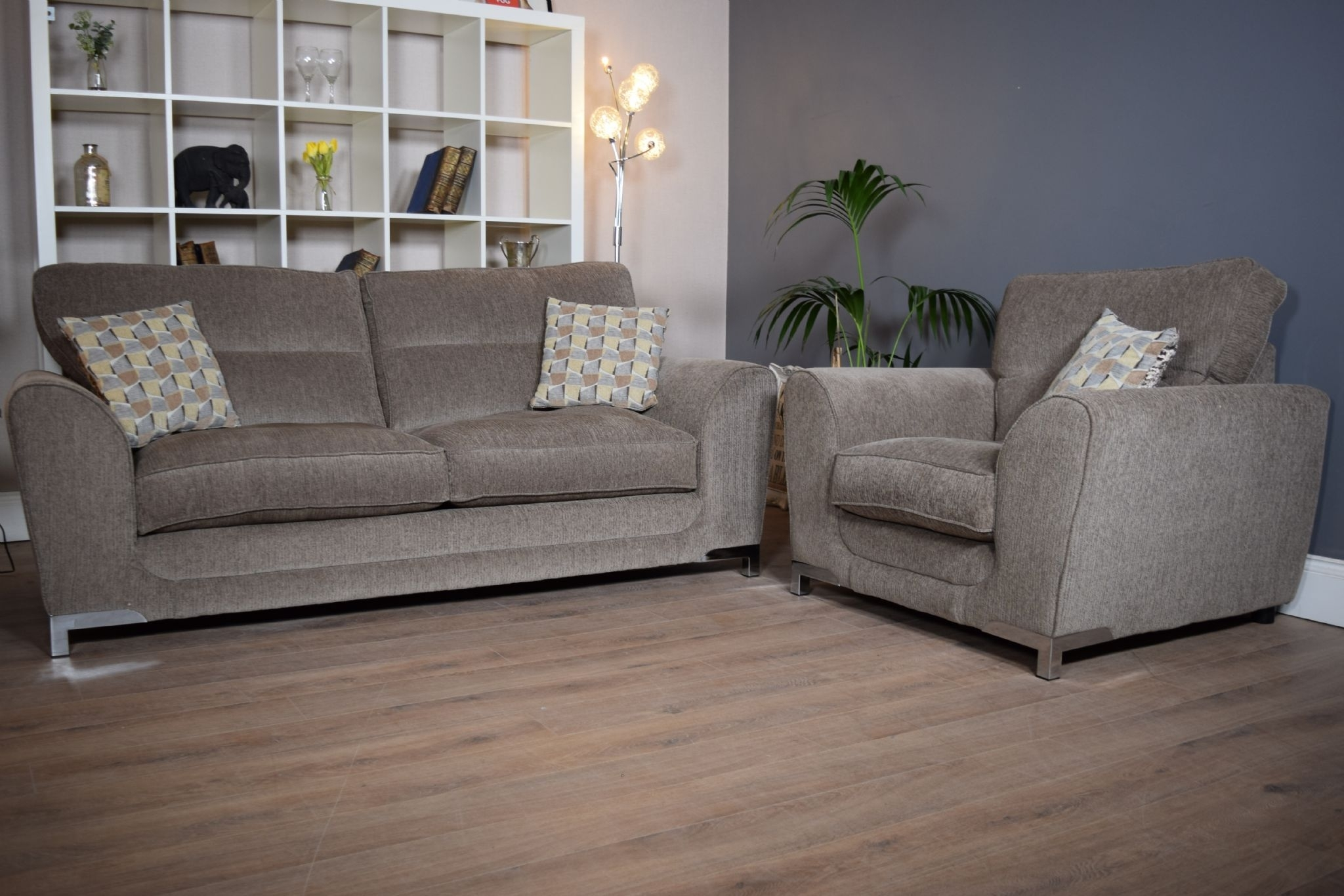 Set Nikki 3 Seater Sofa & Cuddle Chair Suite Set - Mocha Grey - Out within 3 Seater Sofas And Cuddle Chairs (Image 9 of 10)
