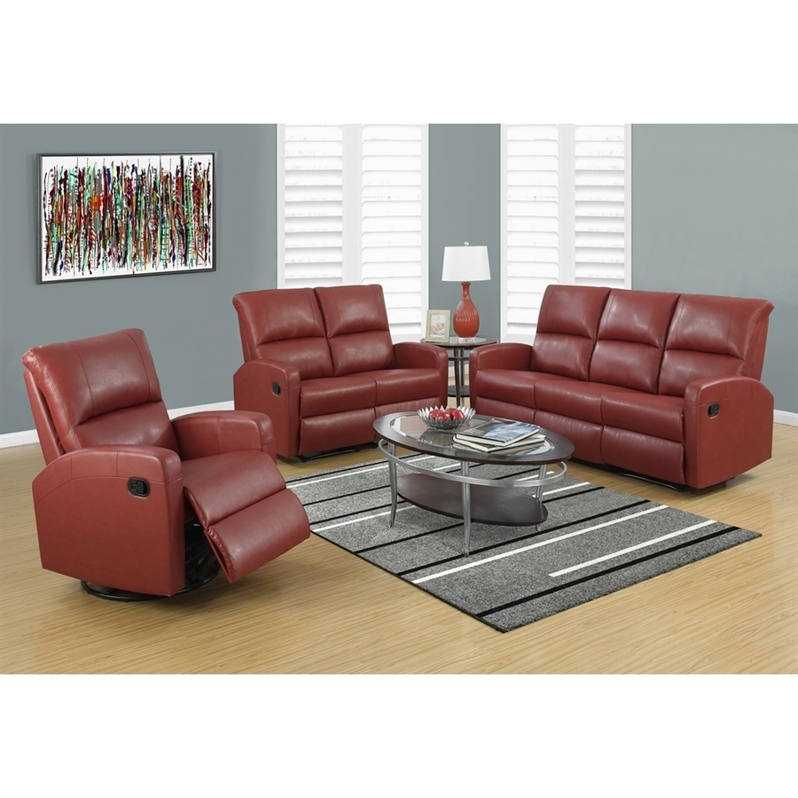 Shop Monarch Specialties Casual Red Faux Leather Sectional At Lowes in Red Faux Leather Sectionals (Image 12 of 15)