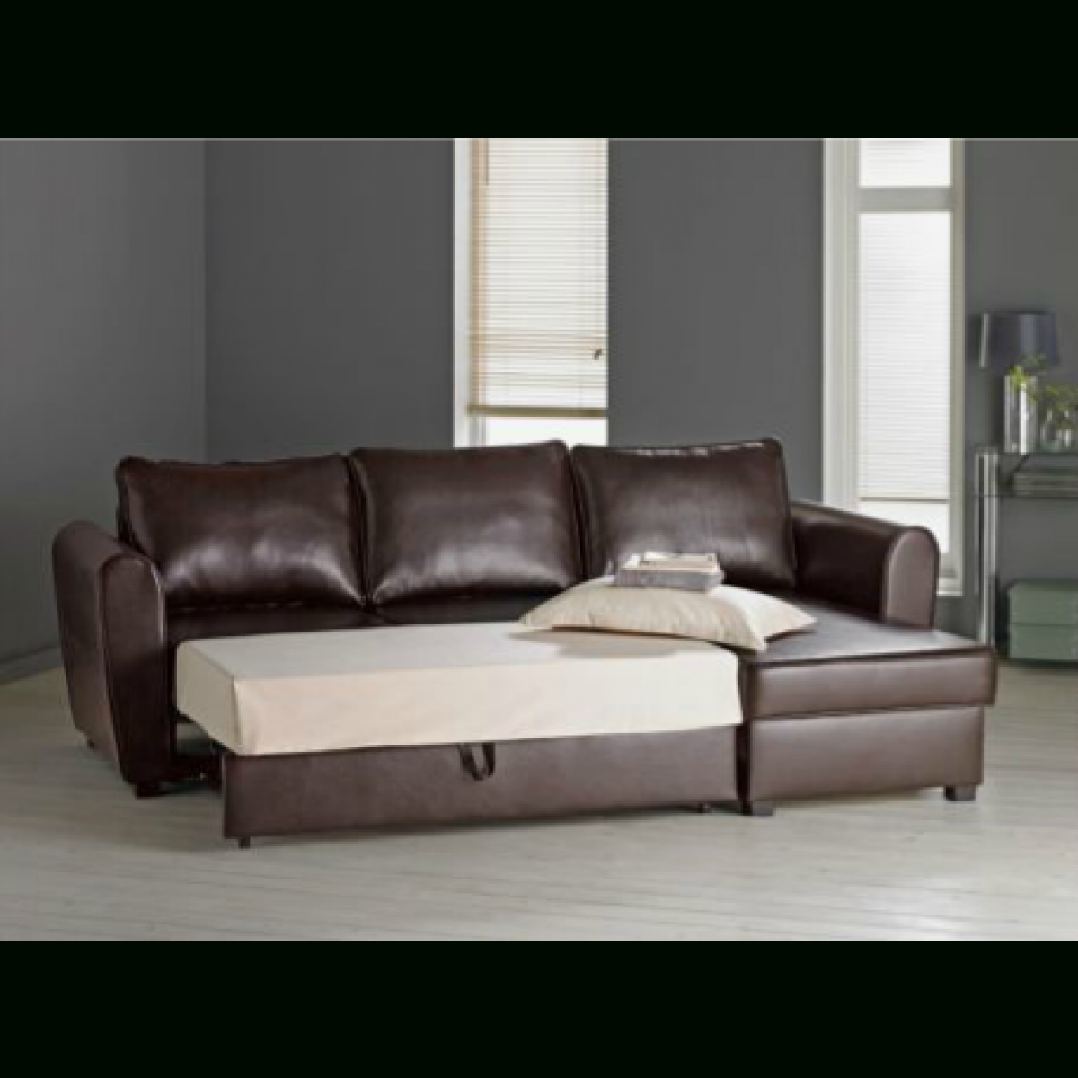 Siena Leather Effect Corner Sofa Bed With Storage -Chocolate for Leather Sofas With Storage (Image 6 of 10)