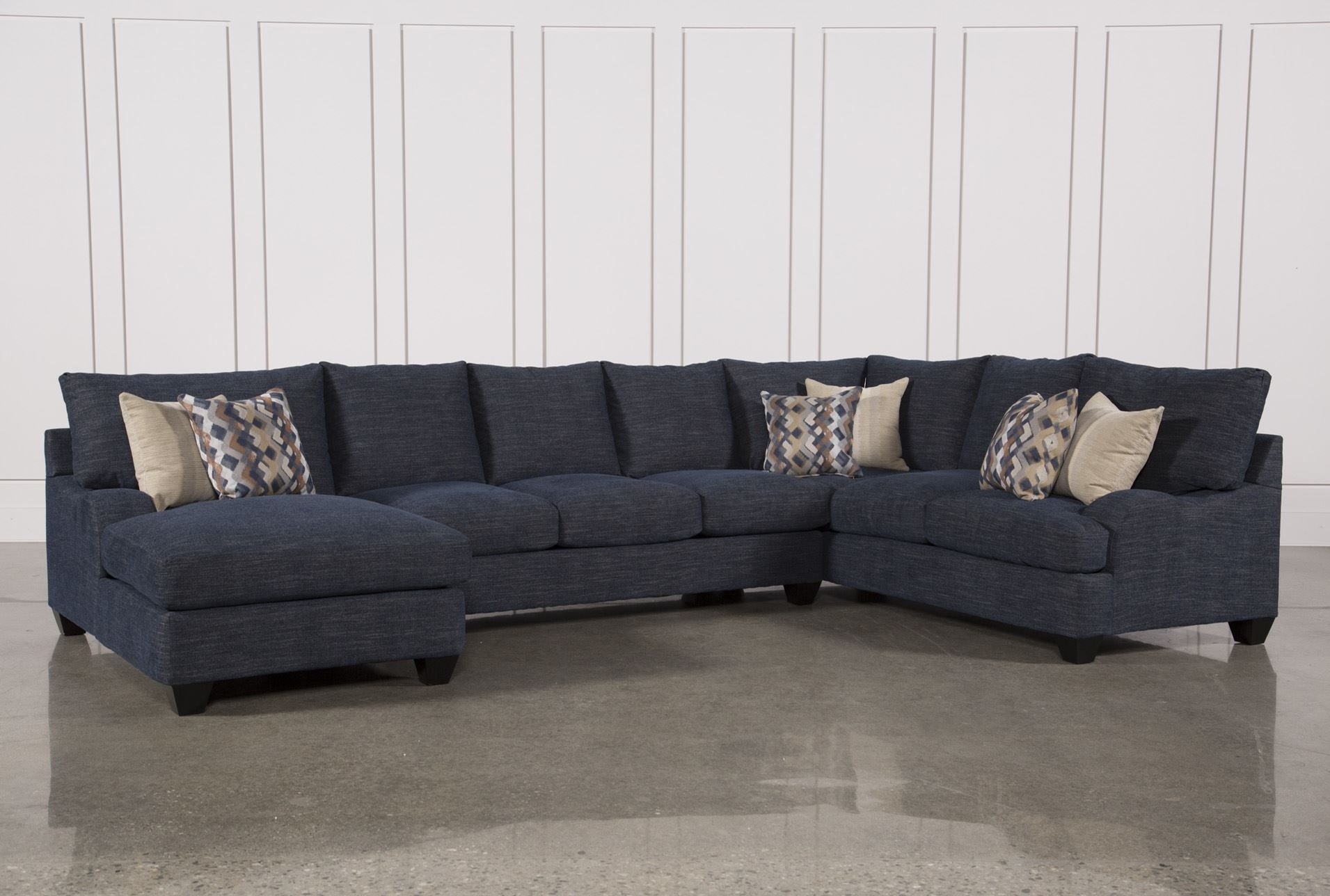Sierra Down 3 Piece Sectional W/laf Chaise, Blue, Sofas | Foam with regard to Sectional Sofas at Brampton (Image 13 of 15)
