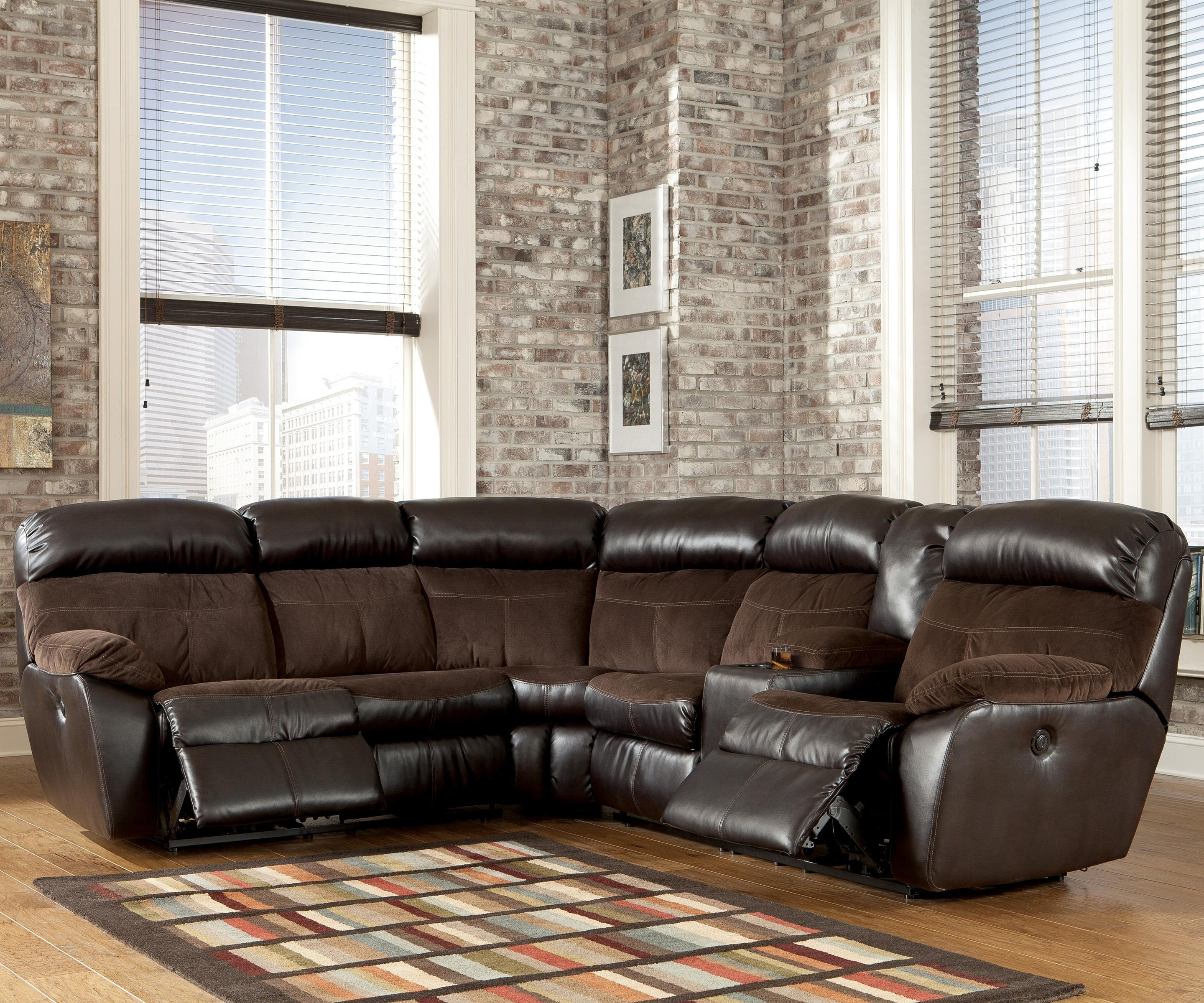 Signature Designashley Berneen - Coffee Reclining Sectional Sofa pertaining to Ivan Smith Sectional Sofas (Image 9 of 10)