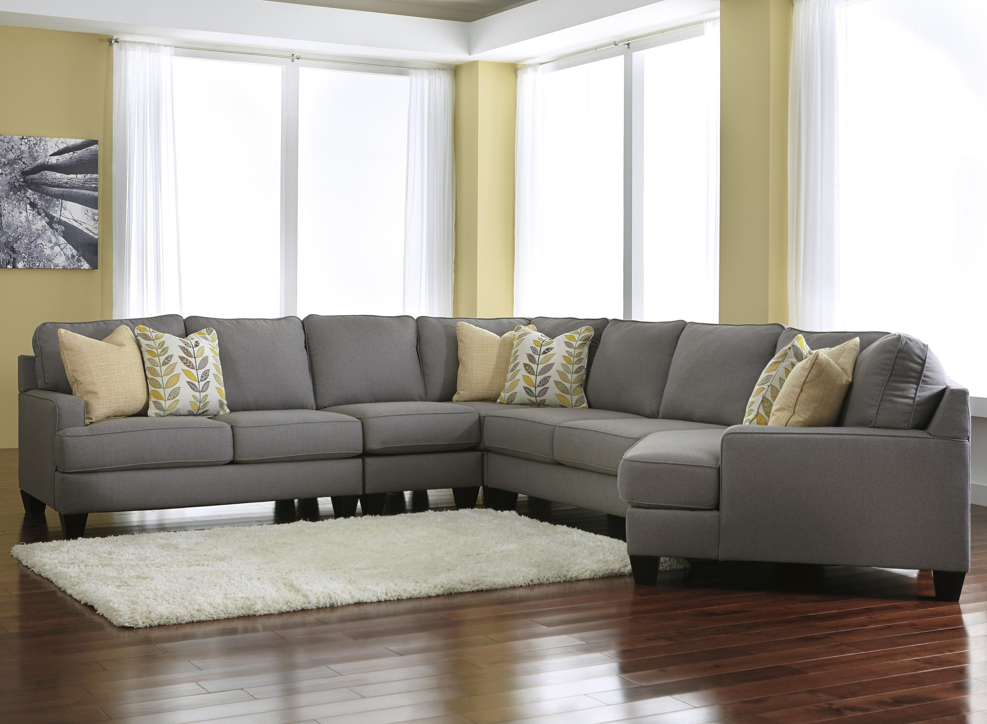 Signature Designashley Chamberly - Alloy Modern 5-Piece regarding Sectional Sofas With Cuddler (Image 10 of 10)