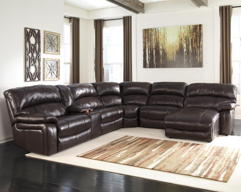 Signature Designashley Damacio - Dark Brown Reclining Sectional within Jackson Tn Sectional Sofas (Image 8 of 10)