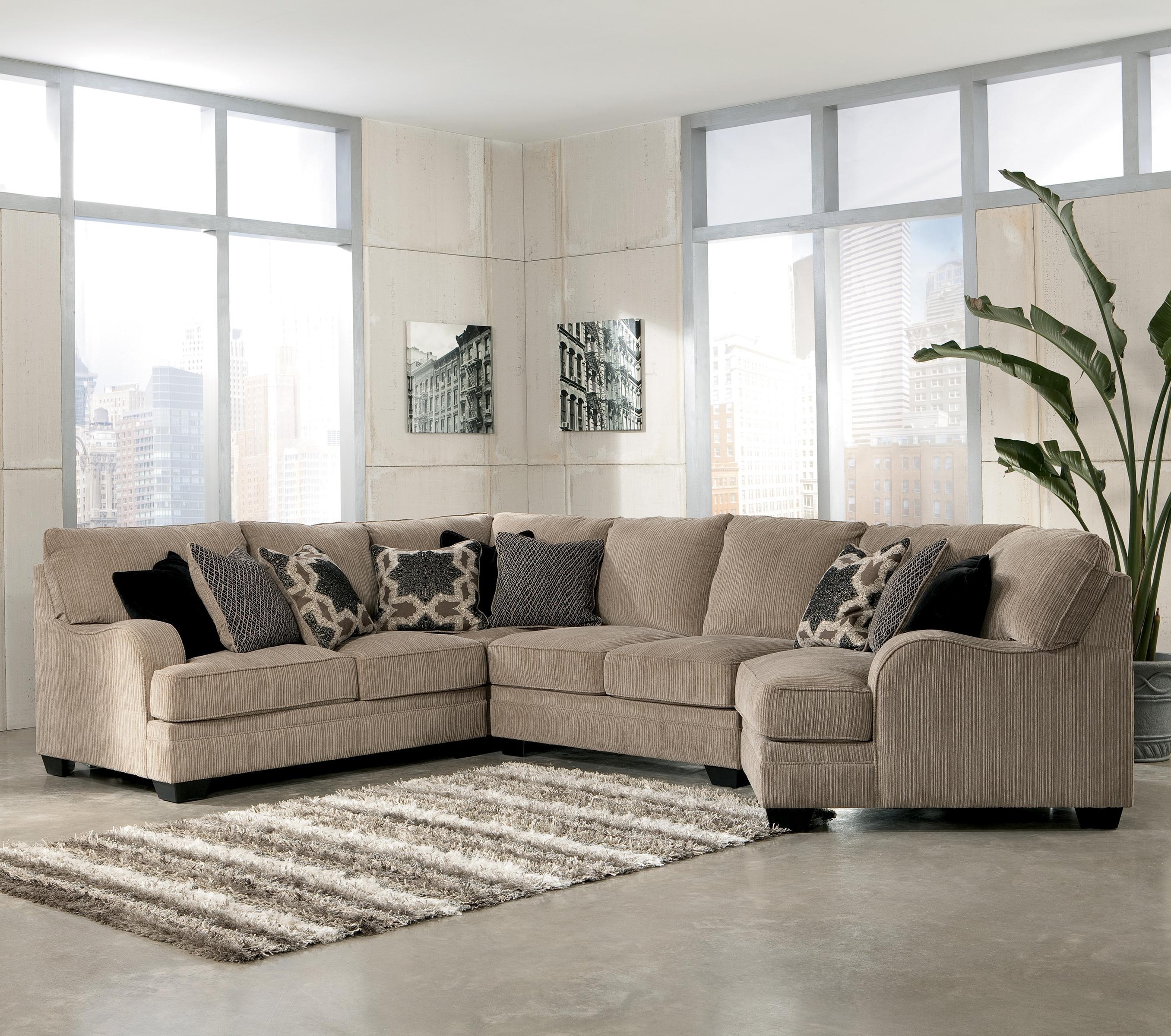 Signature Designashley Katisha - Platinum 4-Piece Sectional Sofa with Peterborough Ontario Sectional Sofas (Image 9 of 10)