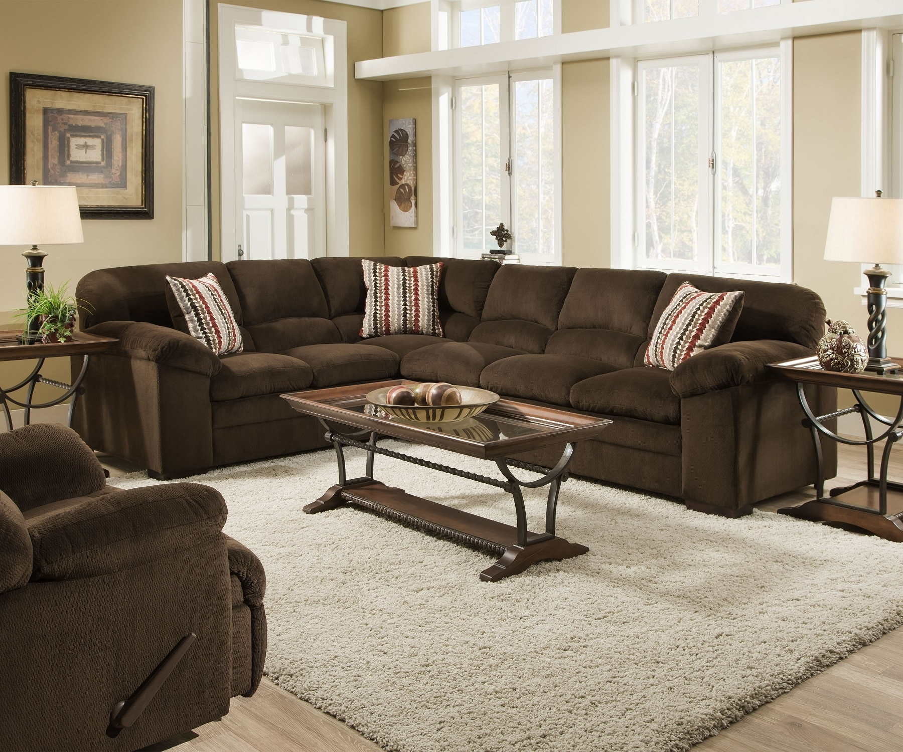 Simmons Dover 8043 Chocolate Ultra Plush Soft Seating Made In The Usa inside Chocolate Sectional Sofas (Image 13 of 15)
