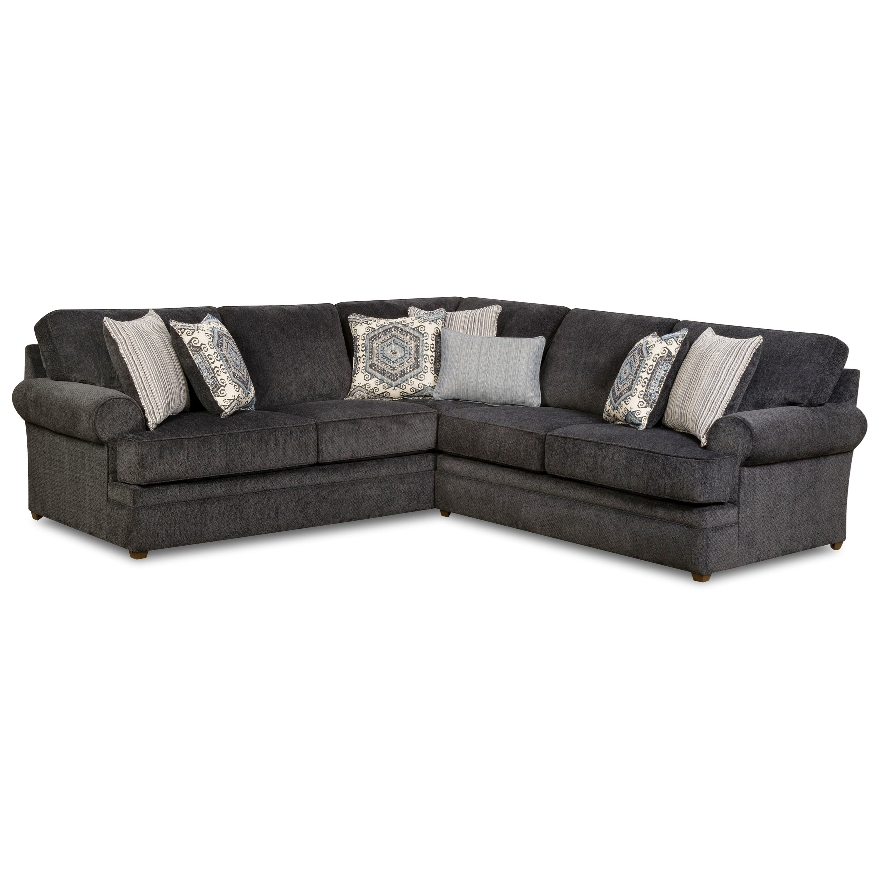 Simmons Upholstery 8530 Br Transitional Sectional Sofa With Rolled Pertaining To Sectional Sofas At Birmingham Al (View 15 of 15)