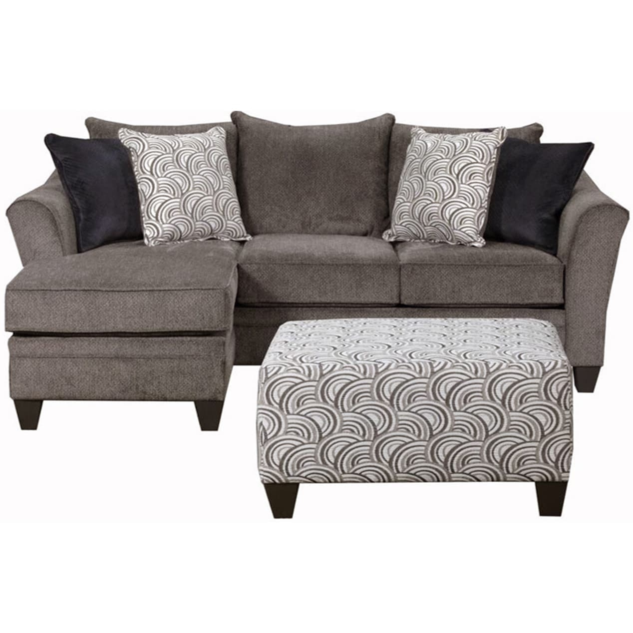 Simmons Upholstery Albany Pewter Sofa Chaise - Free Shipping Today with regard to Simmons Chaise Sofas (Image 8 of 10)
