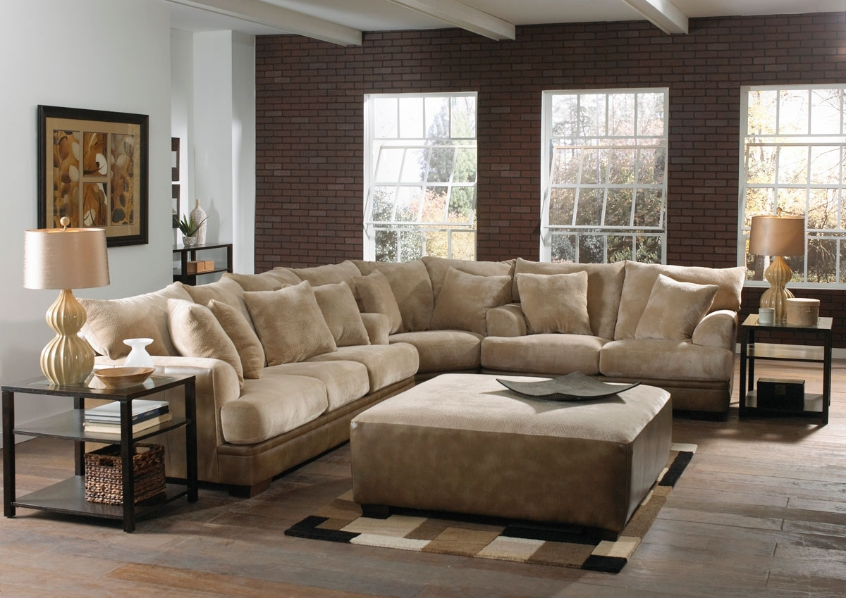 Simple Living Room With Light Brown Suede Sectional Sofa Living Room regarding Sectional Sofas at Brick (Image 12 of 15)