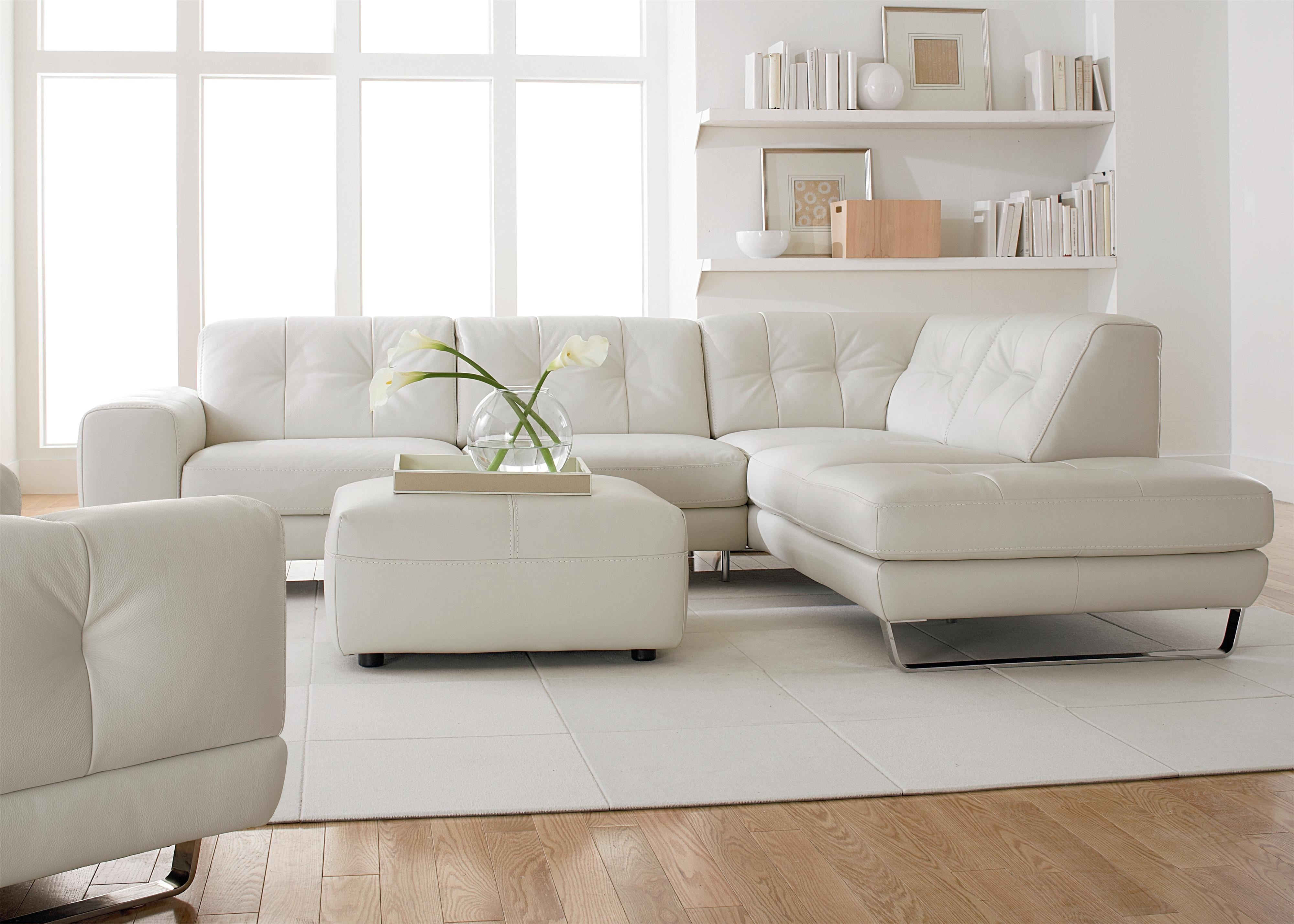 Simple Modern Minimalist Living Room Decoration With White Leather Within Small Sectional Sofas With Chaise And Ottoman (View 10 of 15)