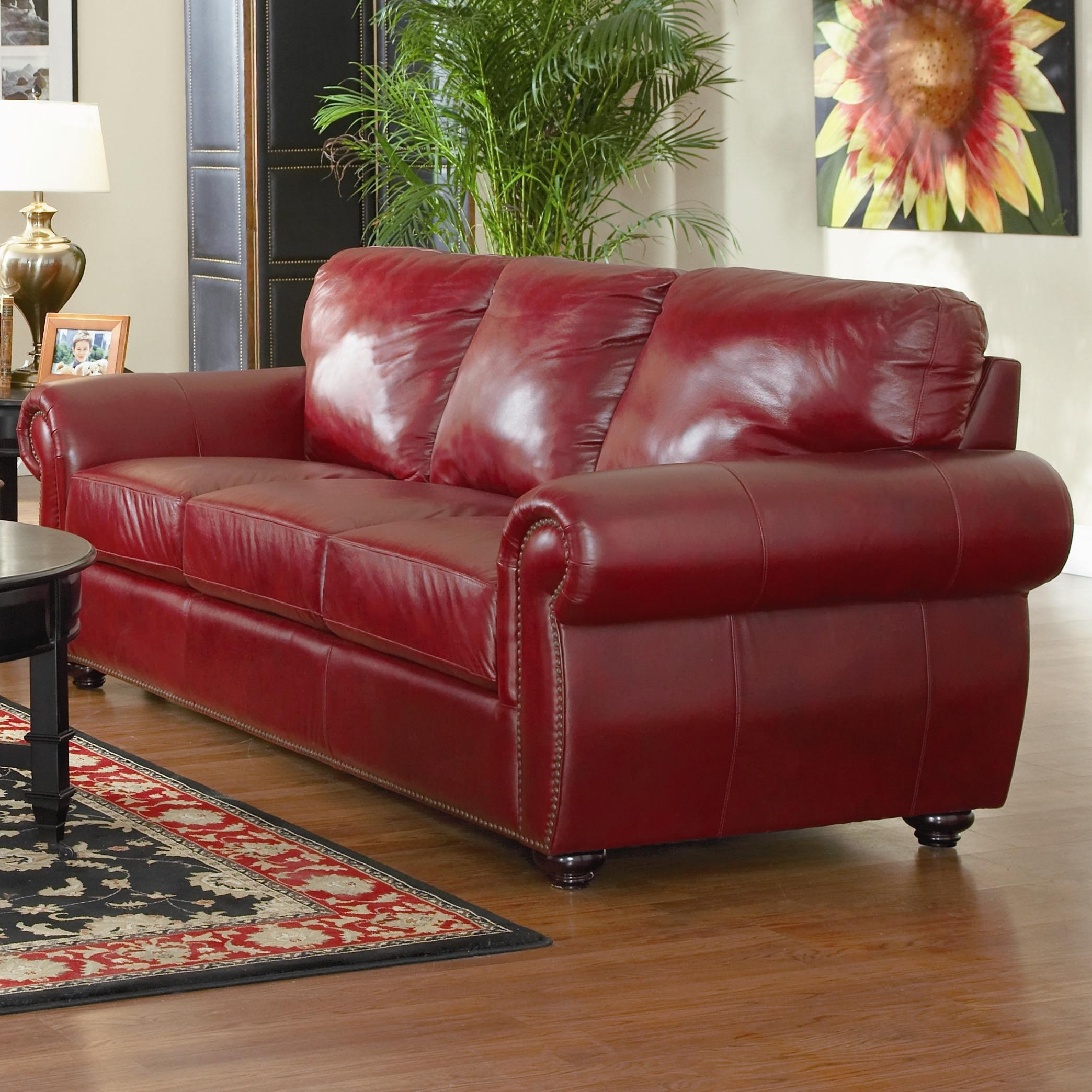 Simple Red Leather Tufted Backrest Loveseat With Shelter Armrest And for Red Leather Couches and Loveseats (Image 10 of 15)