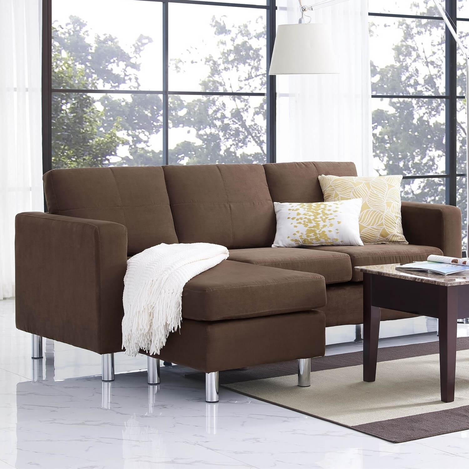 Small Spaces Sectional Sofa With Microfiber Upholstery • Sectional Sofa Within Sectional Sofas Under 1500 (Photo 2 of 10)