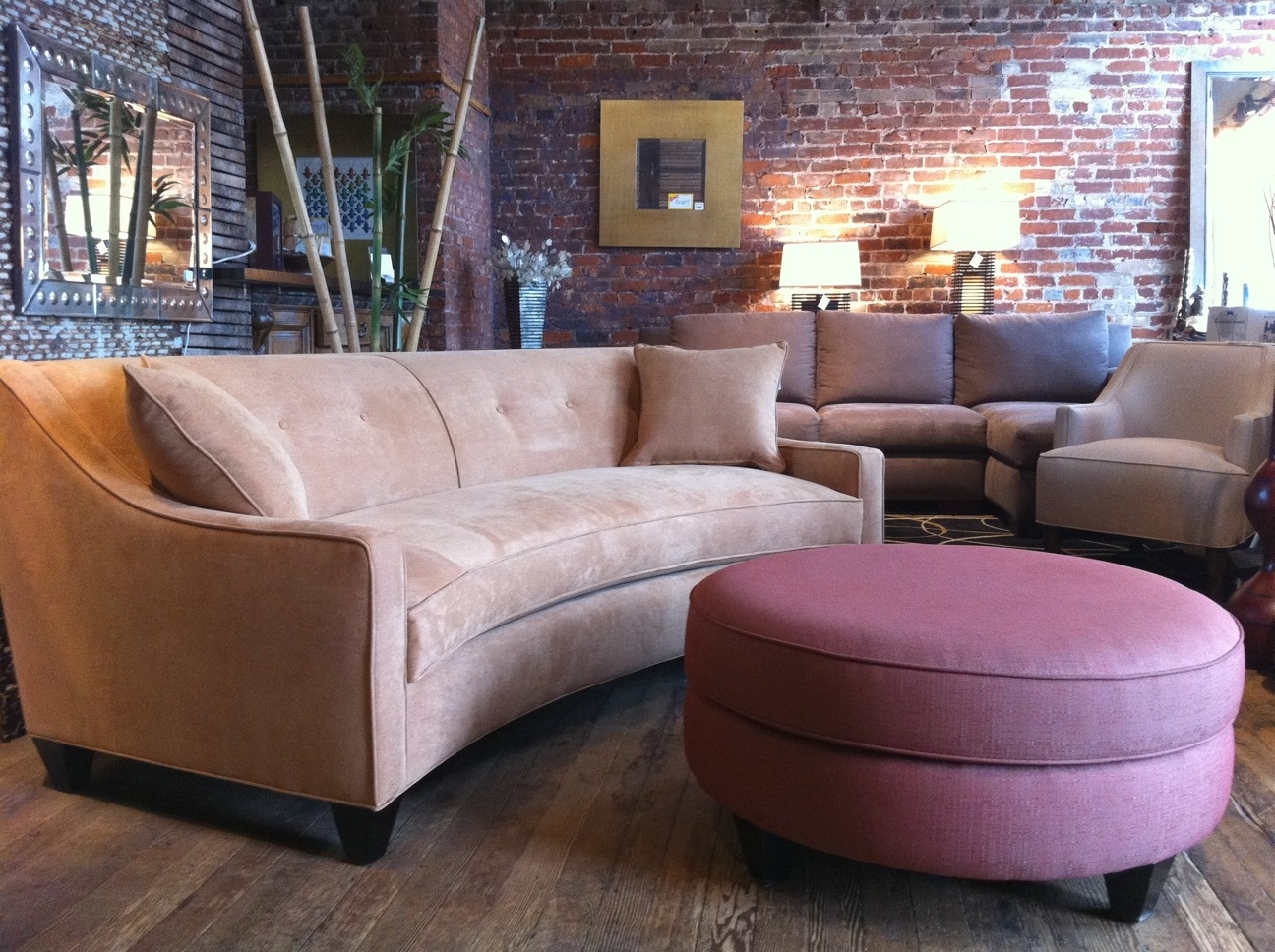 Sofa 101: Curved Vs. Straight | Round Ottoman, Ottomans And Curved Couch intended for Rounded Corner Sectional Sofas (Image 7 of 10)