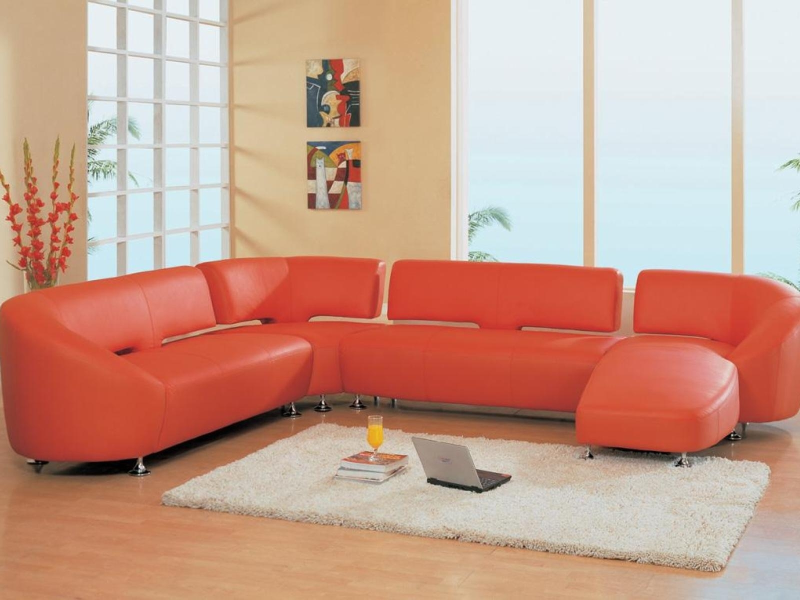 Sofa : 38 Orange Leather Sectional Sofa With Chaise Lounge Chrome for Small Red Leather Sectional Sofas (Image 7 of 15)