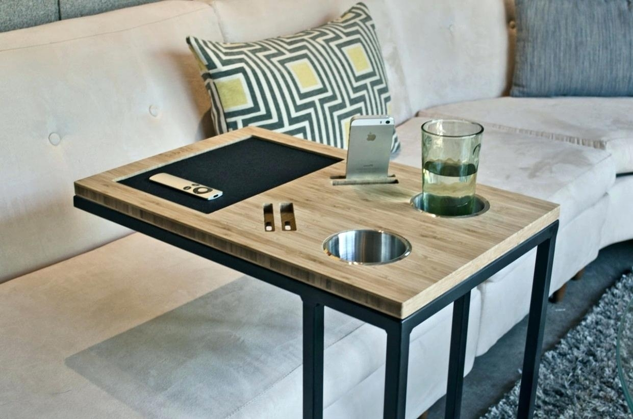 Sofa Caddy S Couch Drink Holder Tutorial – Throughout Sofas With Drink Tables (View 9 of 10)