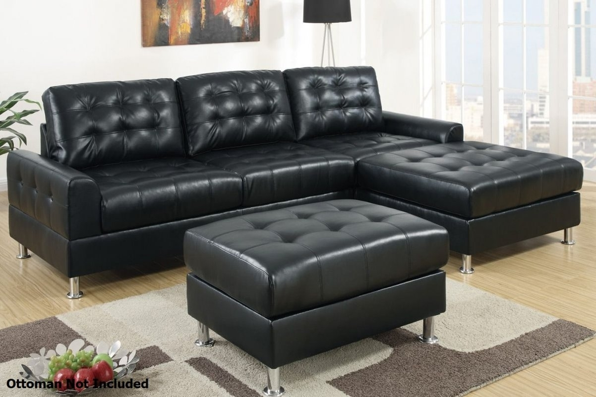 Sofa Design: Comfrotable Black Leather Sectional Sof Throughout within Black Leather Sectionals With Ottoman (Image 13 of 15)